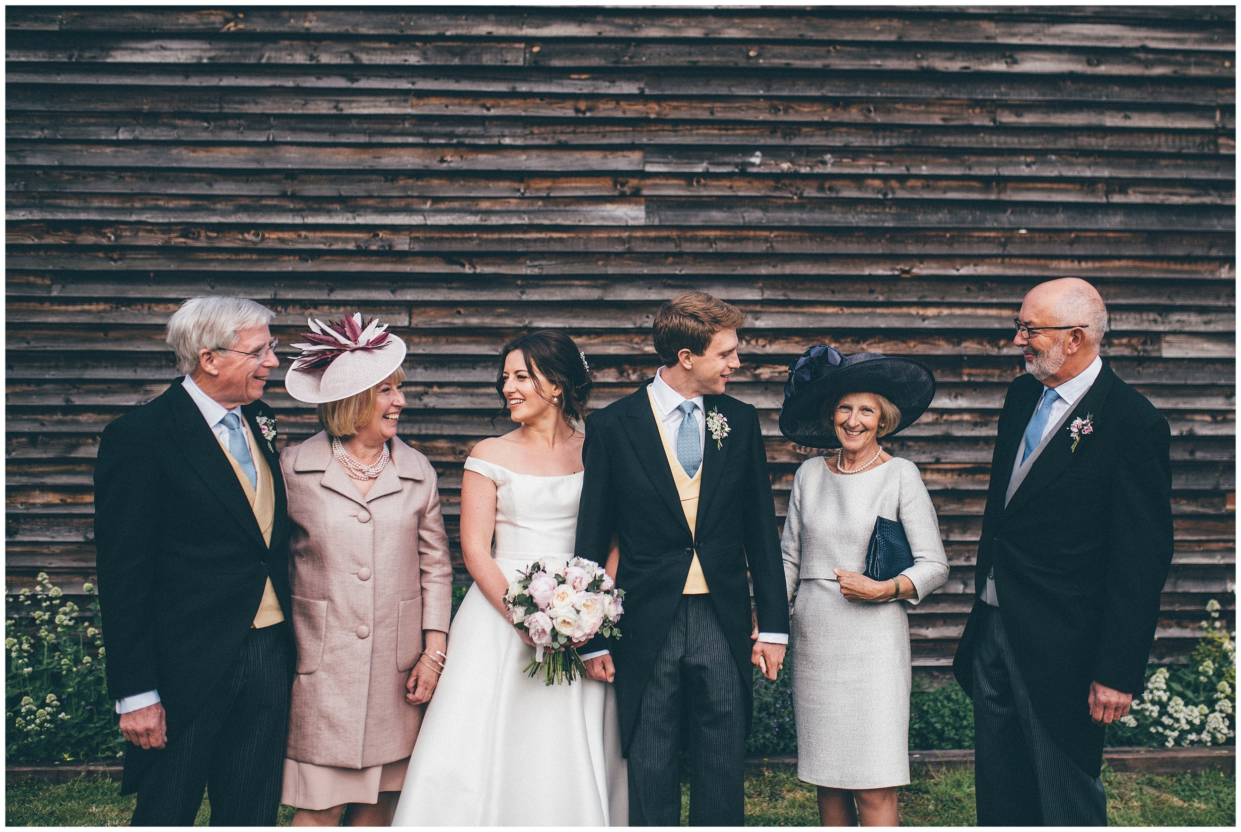 Family photograph at Henham Park wedding barns in Southwold.