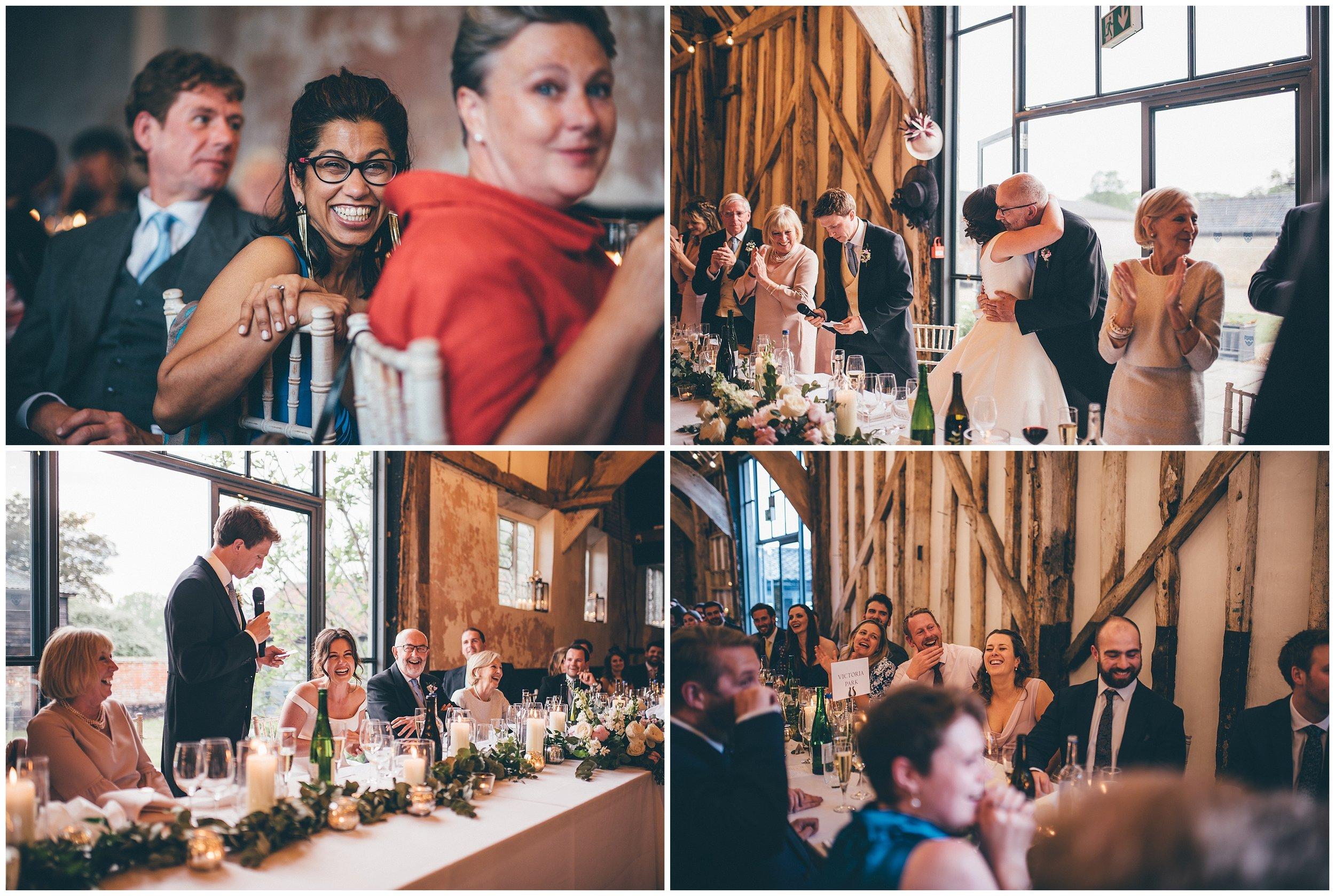 Wedding speeches at Henham Park wedding barns in Southwold.