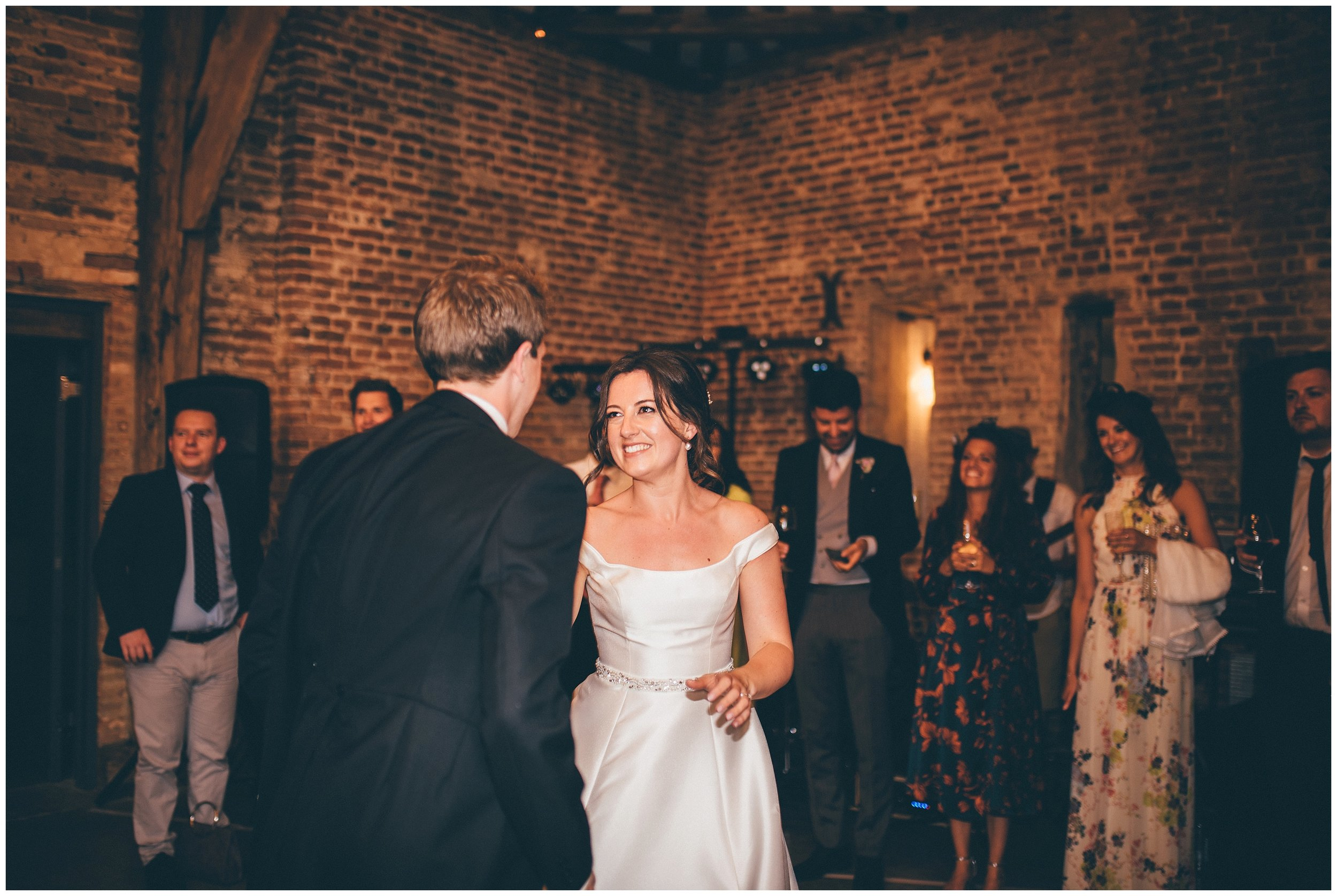 Bride and groom's First Dance at Henham Park wedding barns in Southwold.