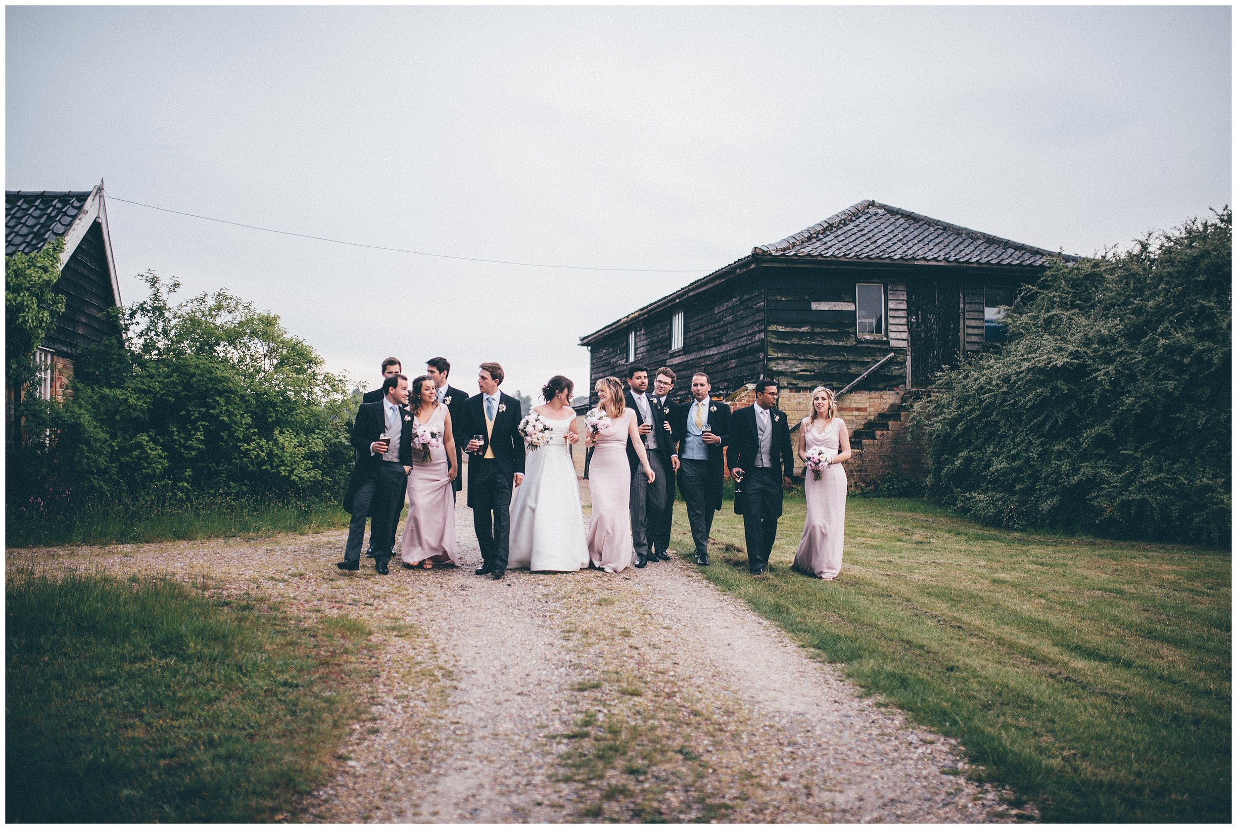 Bride and groom and their bridal party at Henham Park.