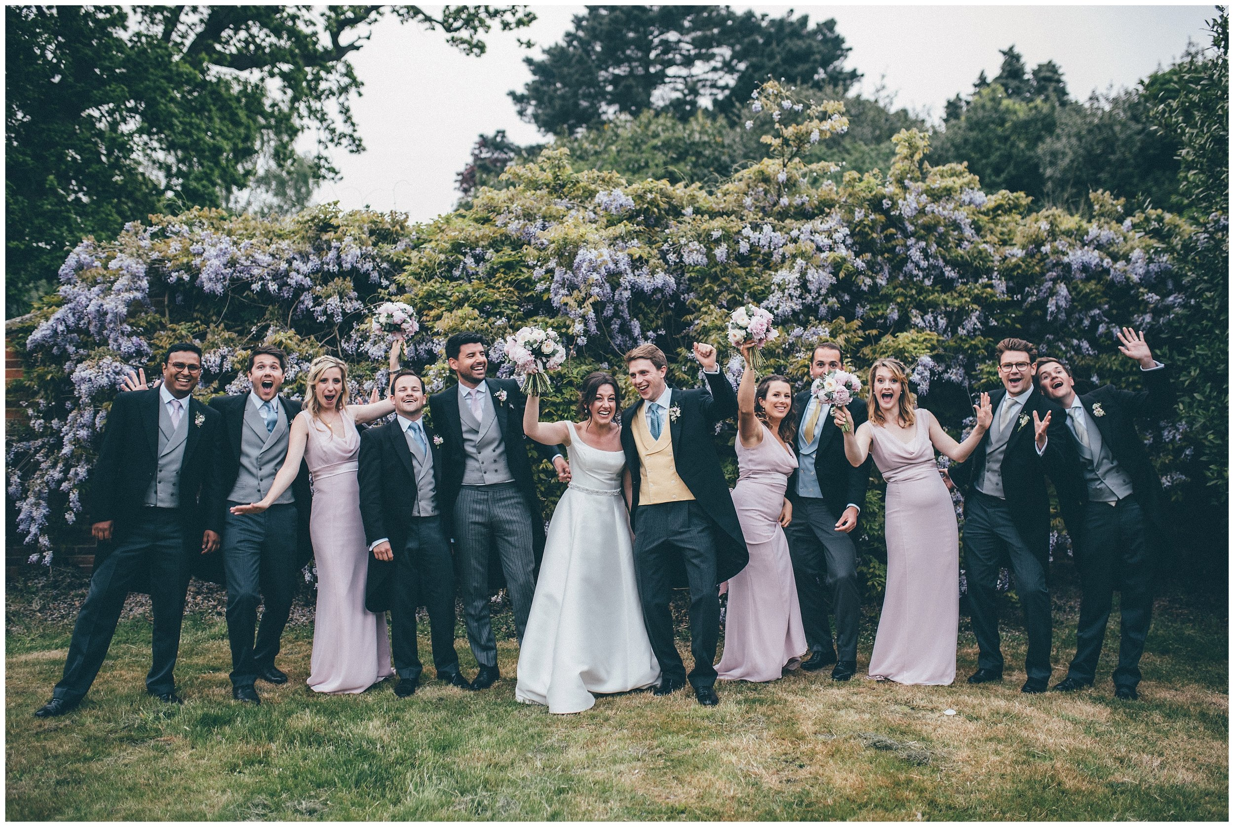 Bride and groom and their bridal party at Henham Park in Southwold.