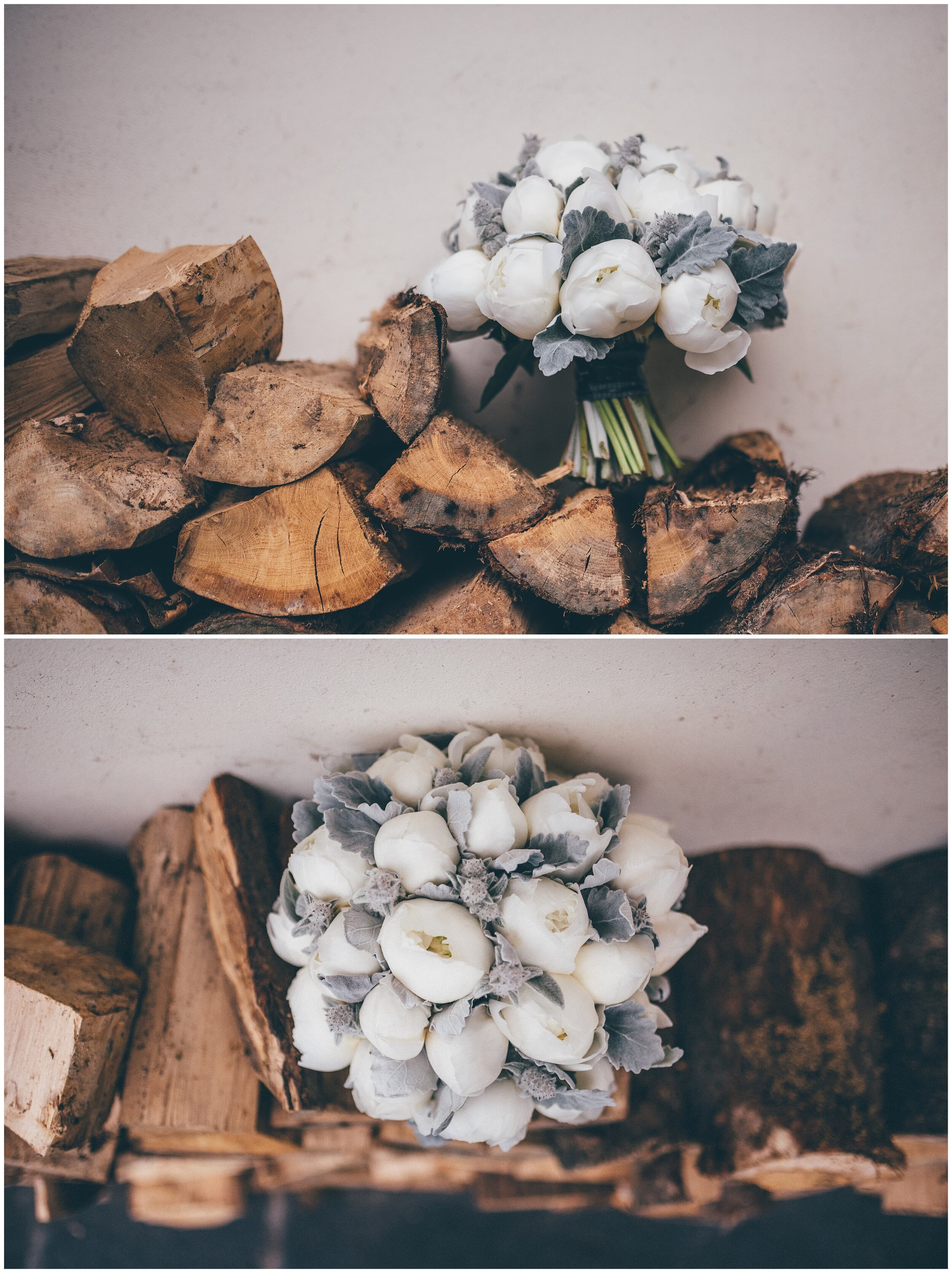 Incredible white peonies in a wedding bouquet made by Brackens of Bowness.