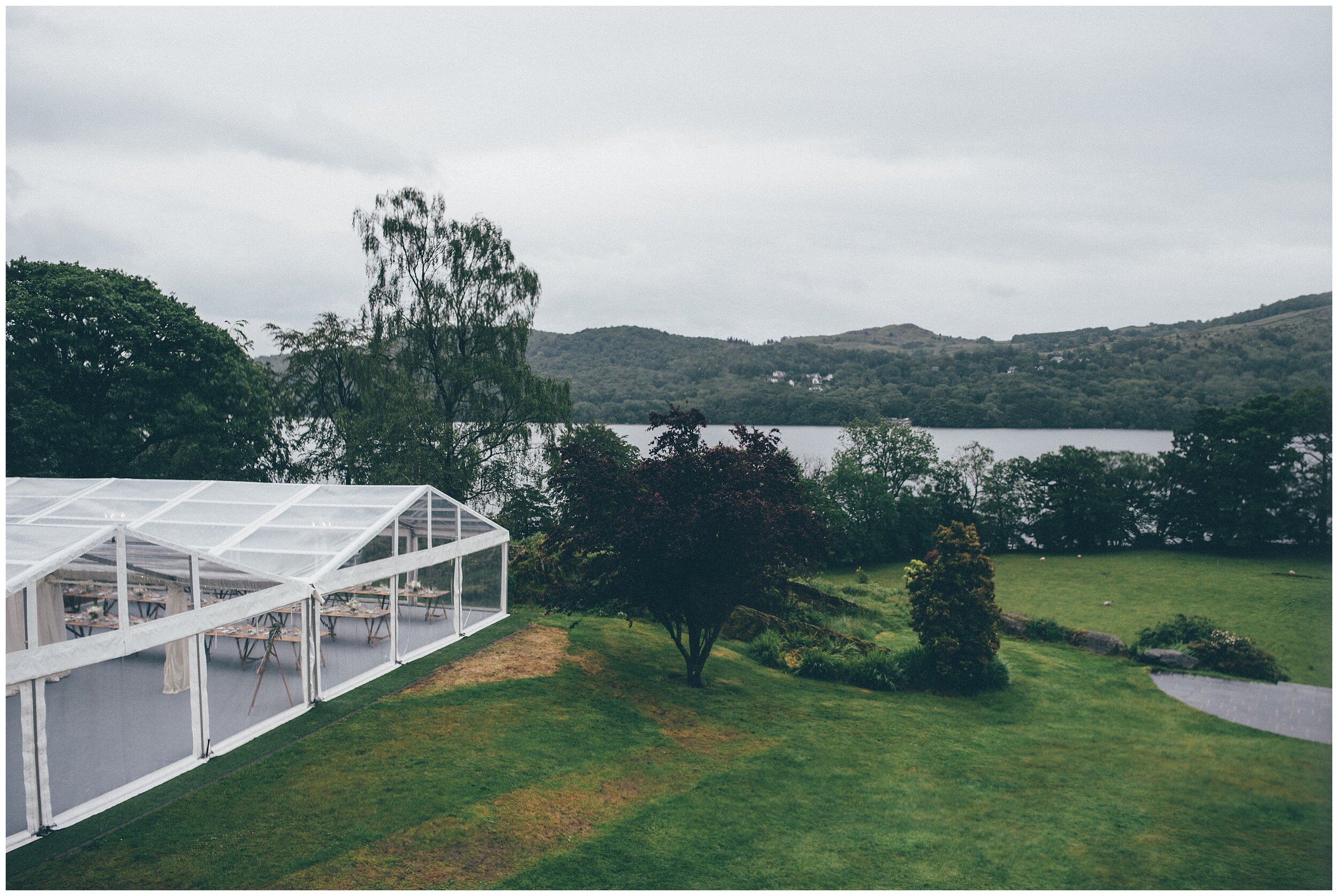Wedding Marquee in the garden of Silverholme Manor in Lake District wedding.