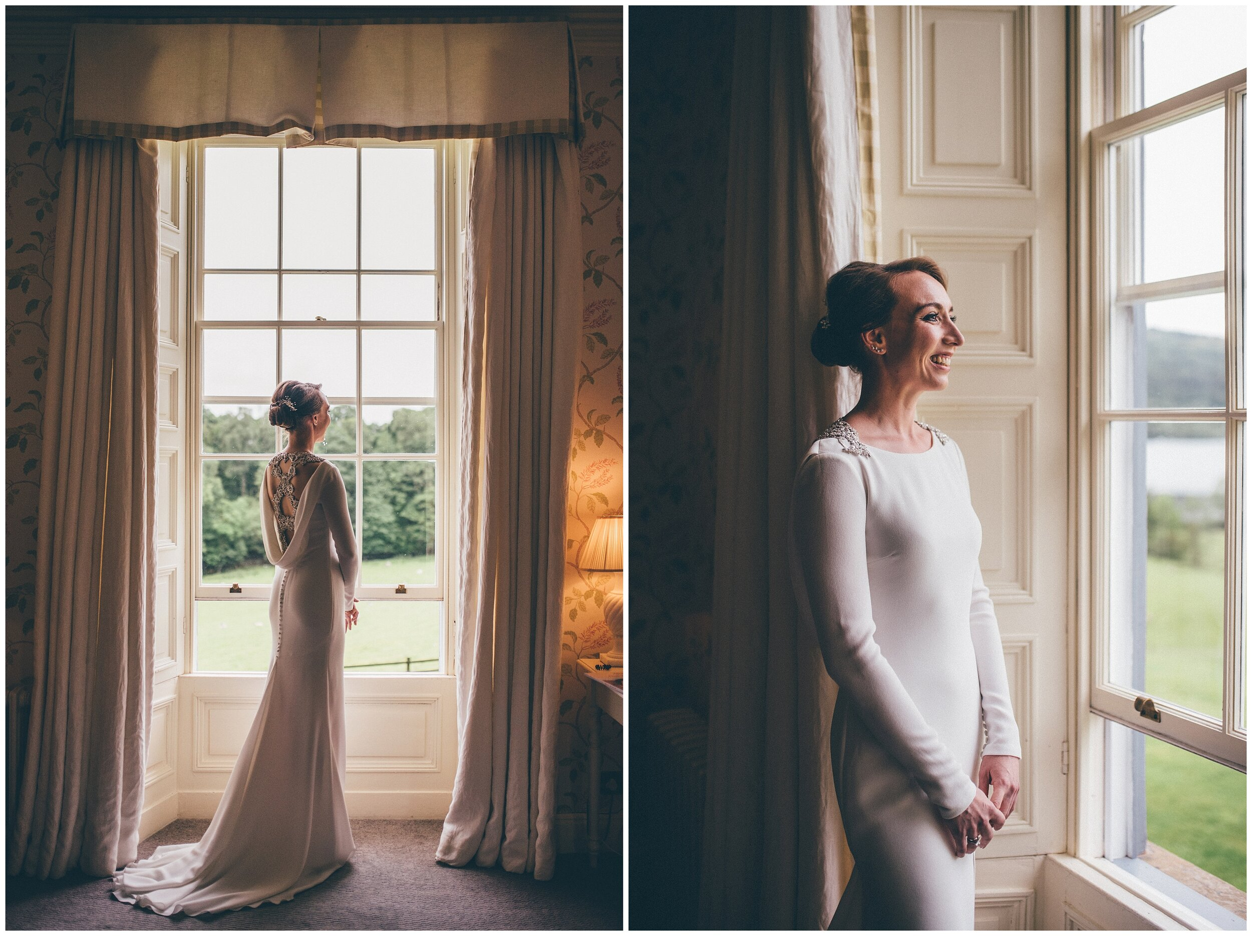 Stunning bride in her Pronovias wedding gown ahead of her wedding at Siverholme Manor in the Lake District.