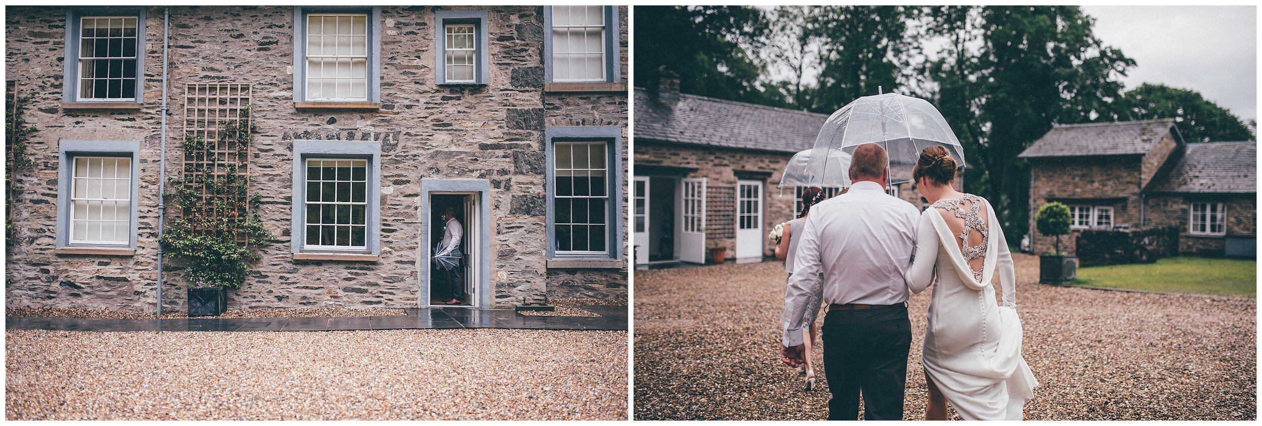 The bride and her dad walk across to the wedding ceremony at Silverholme Manor in the rain.