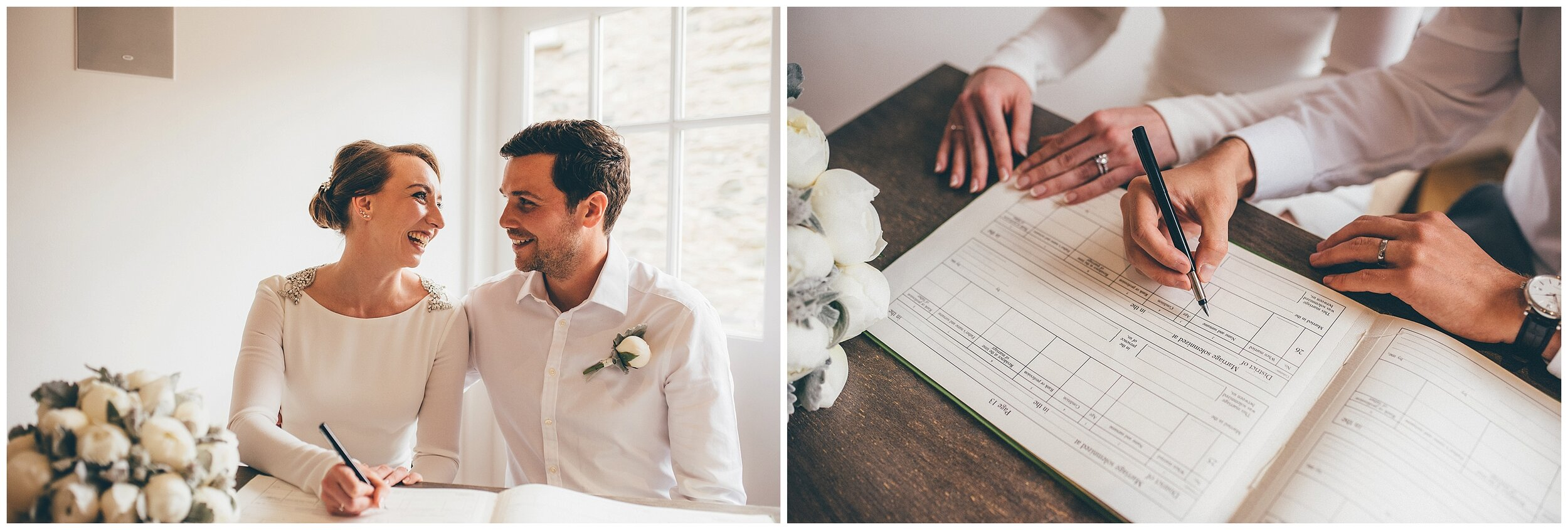 Bride and groom sign their wedding register at Silverholme Manor at the Graythwaite Estate in the Lake district.