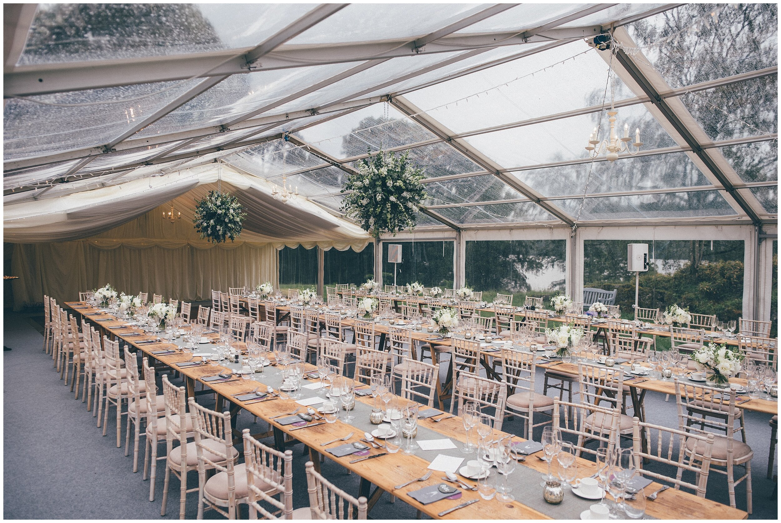 Wedding details in the marquee at Silverholme Manor at Graythwaite Estate in the Lake District.