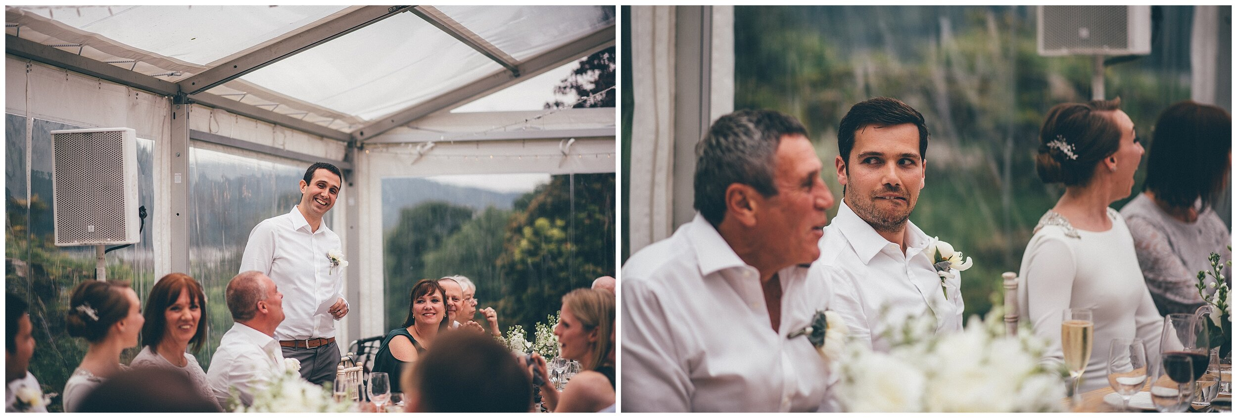 Wedding guests play a game during the speeches at Silverholme Manor, Graythwaite Estate.