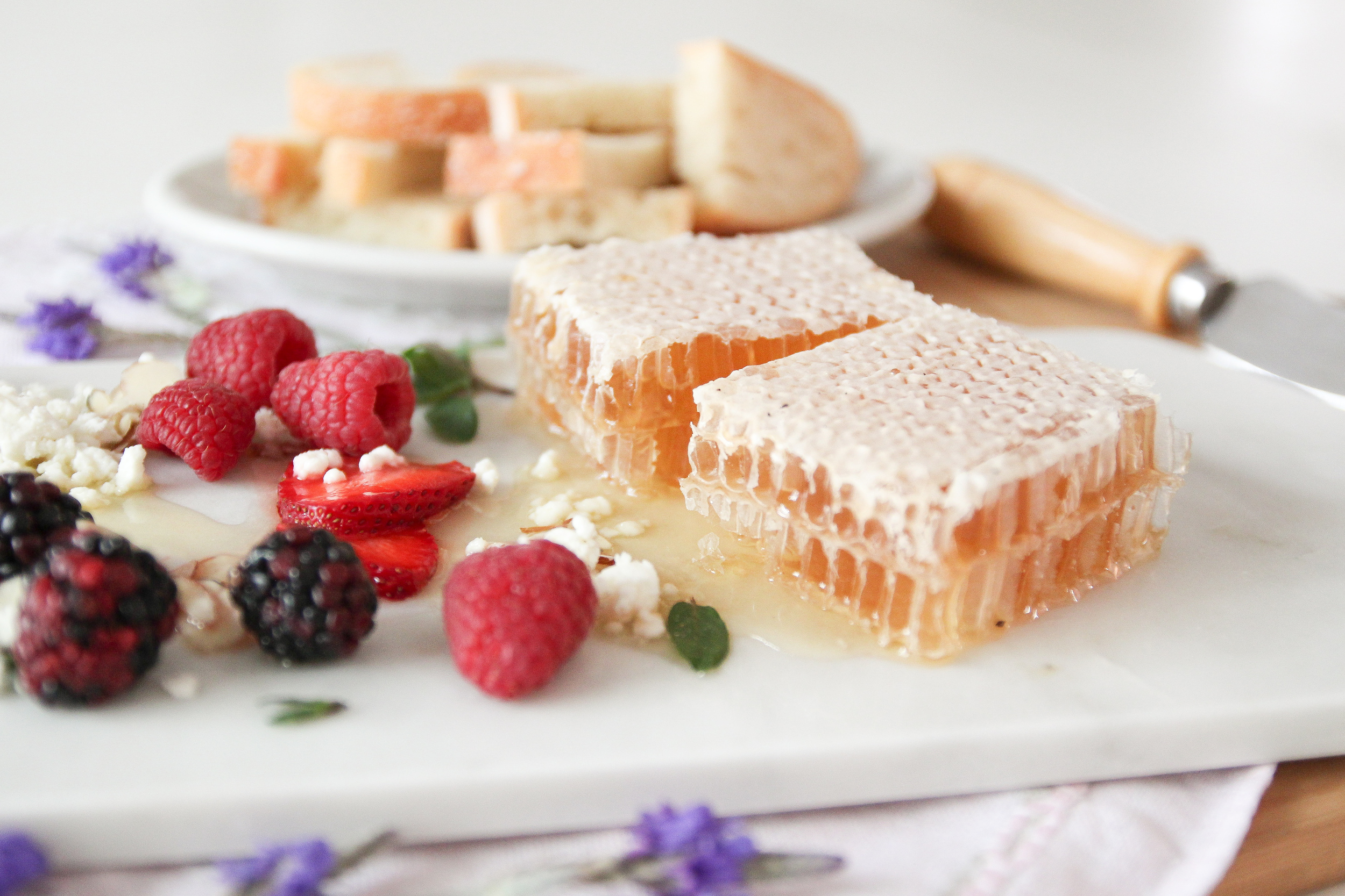 Raw Honeycomb and Fruit Appetizer