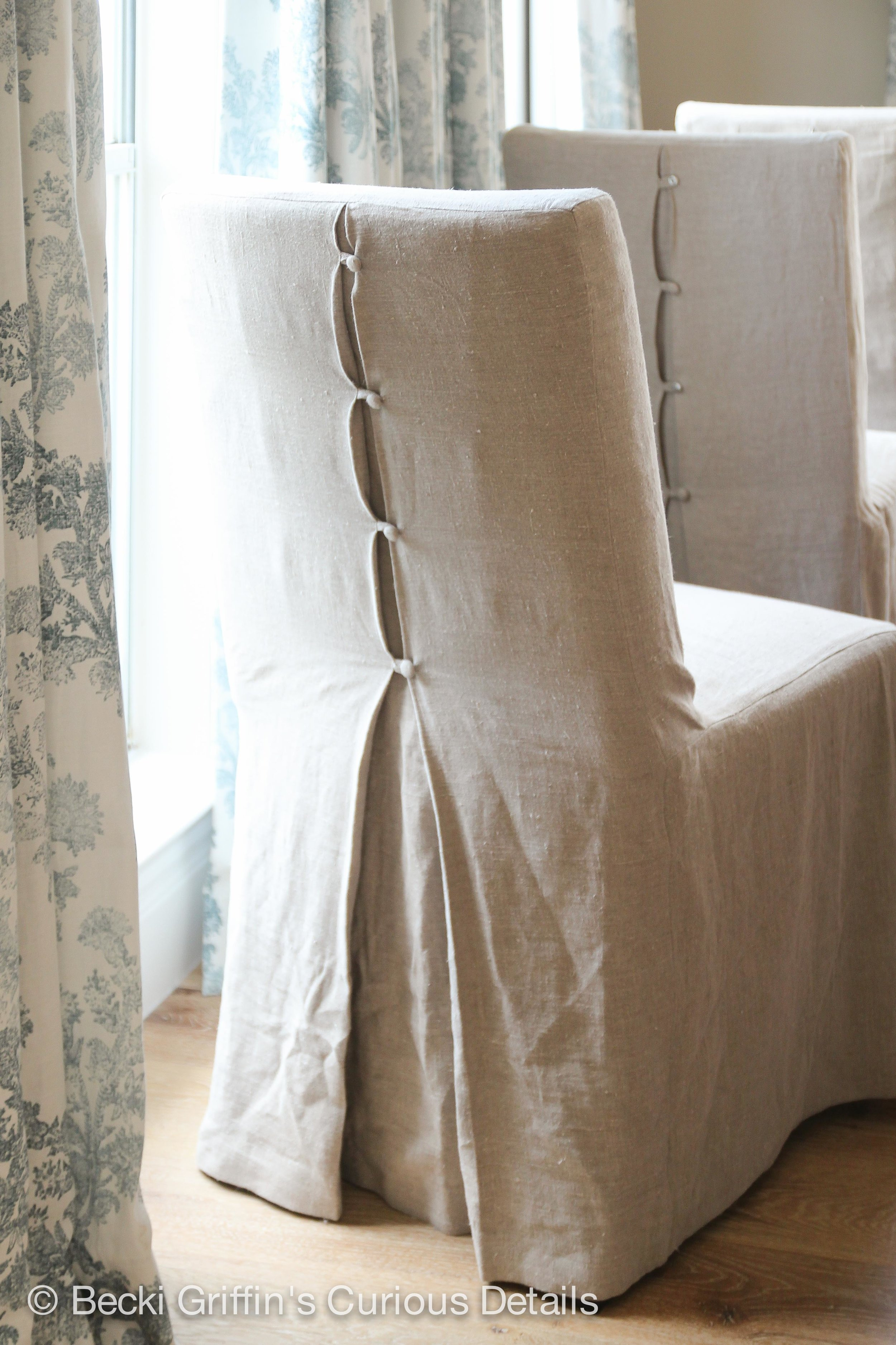 Beautiful details and fabric in these custom slipcovers by  LS Slipcovers  topping off the basic  Henriksdal  chair from Ikea.