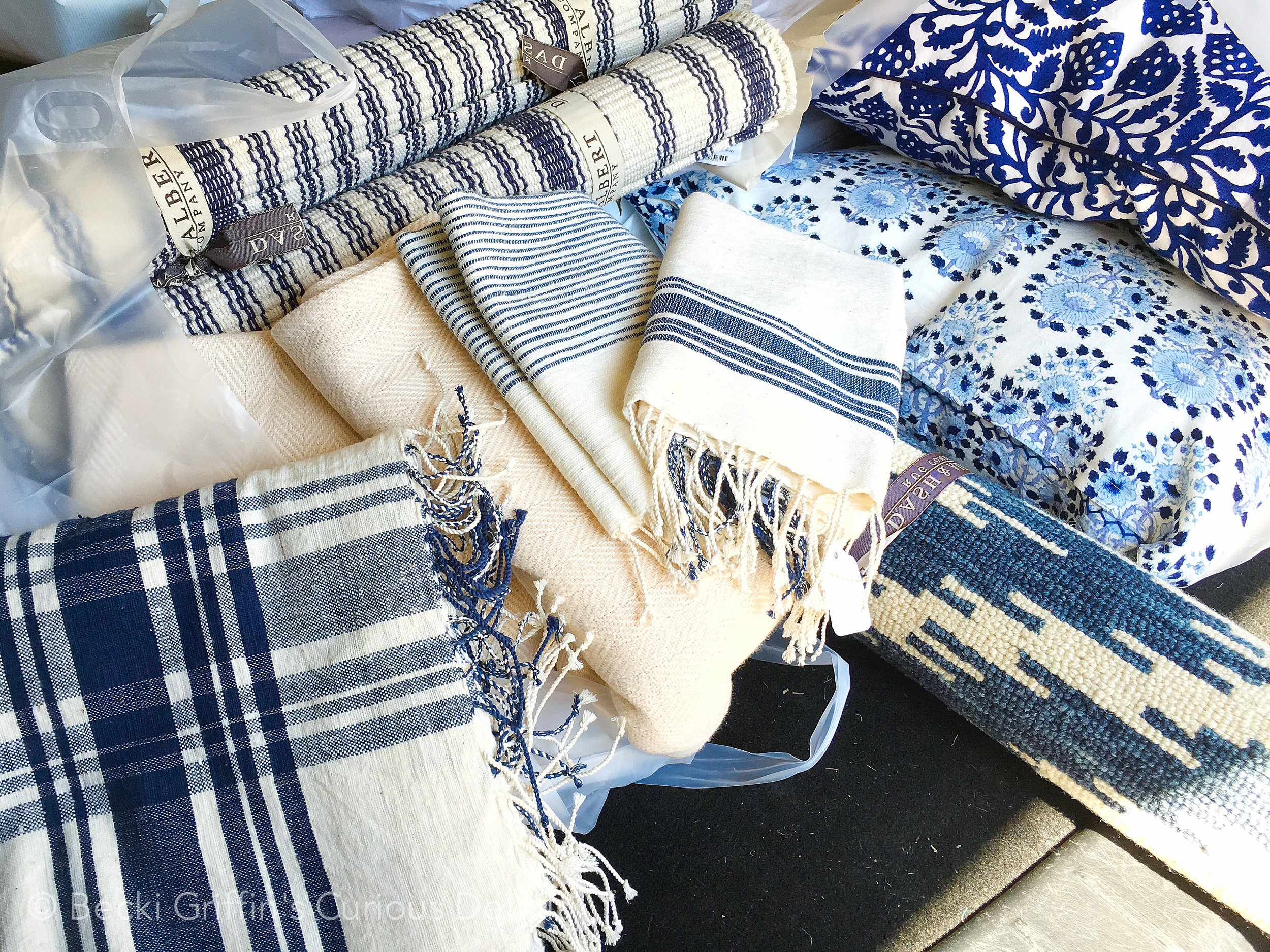Blue and white styling options for Holly's shoot from  Kuhl-Linscomb  in Houston, Tx.
