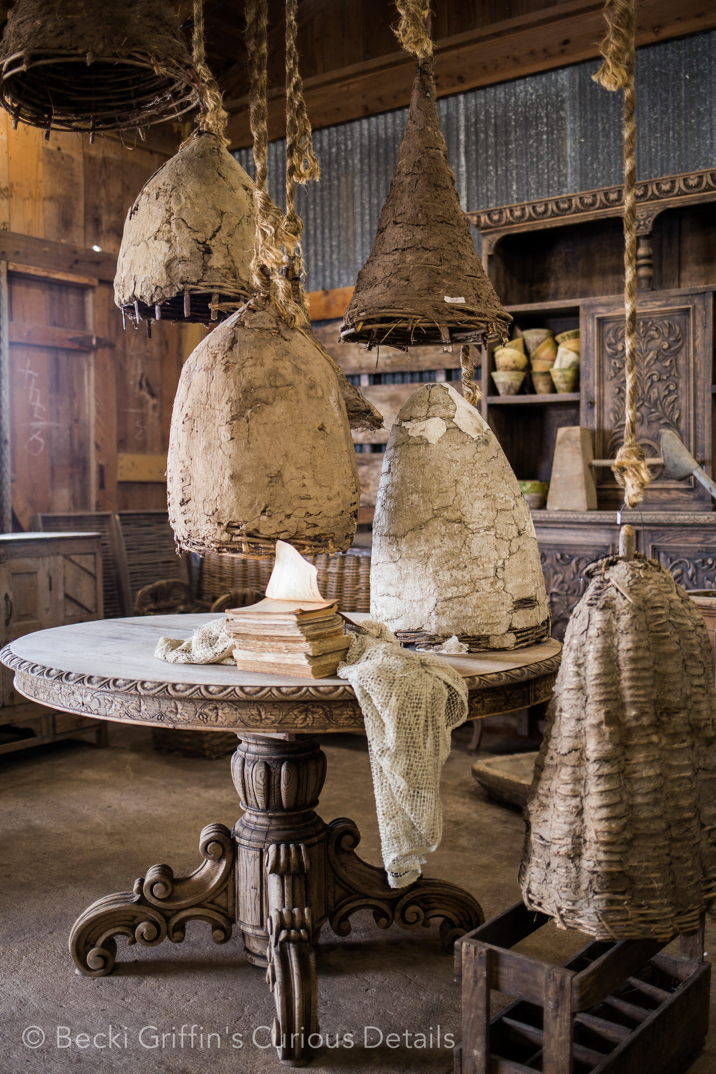 I walked around this collection of antique bee skeps about 47 times, photographing it over and over..making slow motion video. They were so beautiful.