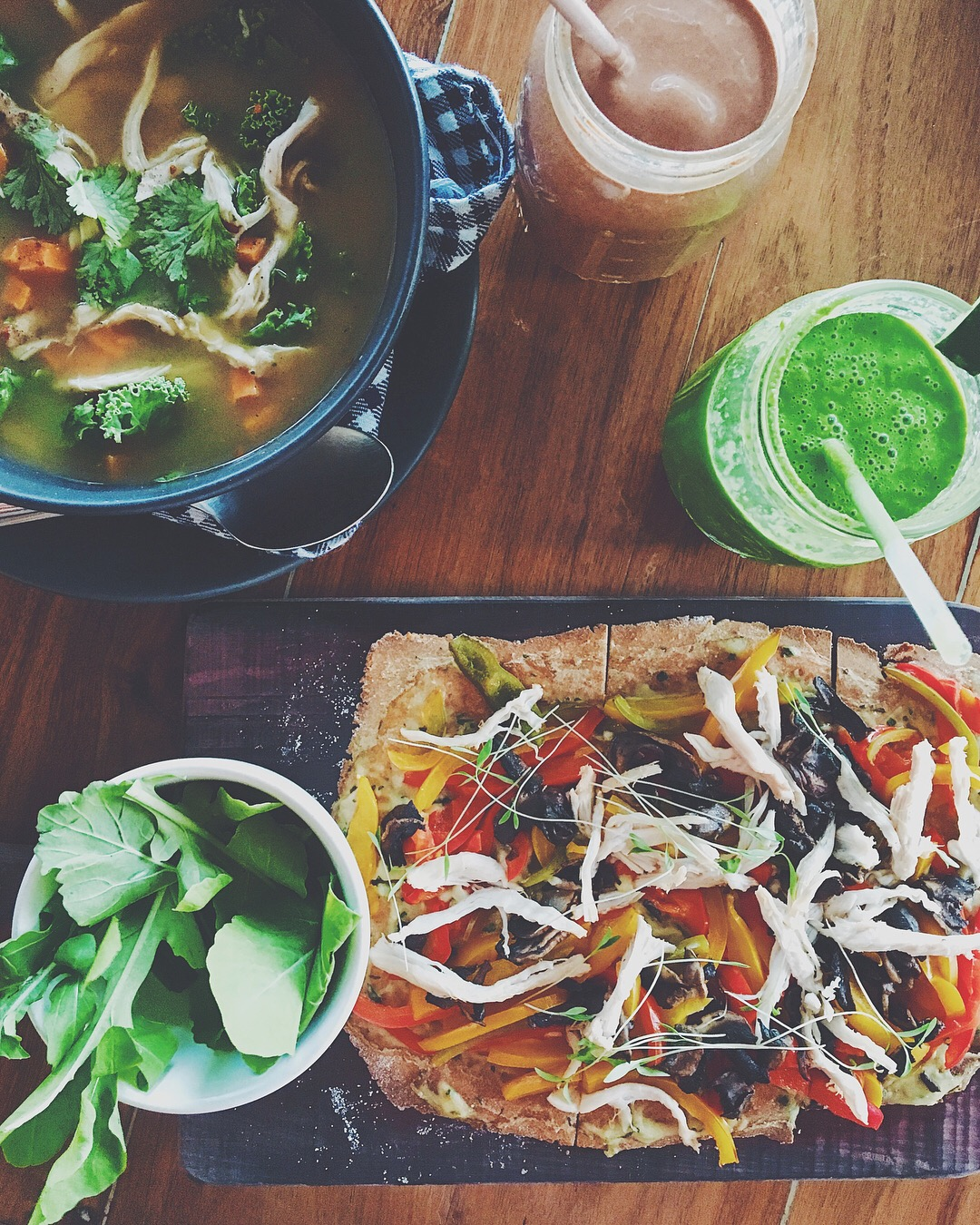 Vegan Broth, Chicken Flatbread, Green Smoothie
