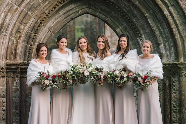 Jenna & her bridesmaids at @Greyabbey @orangetreeweddings  flowers - @therosehipandberry dress - @ivoryandpearl film- @pigmintfilm_clive  band-@thegentsband