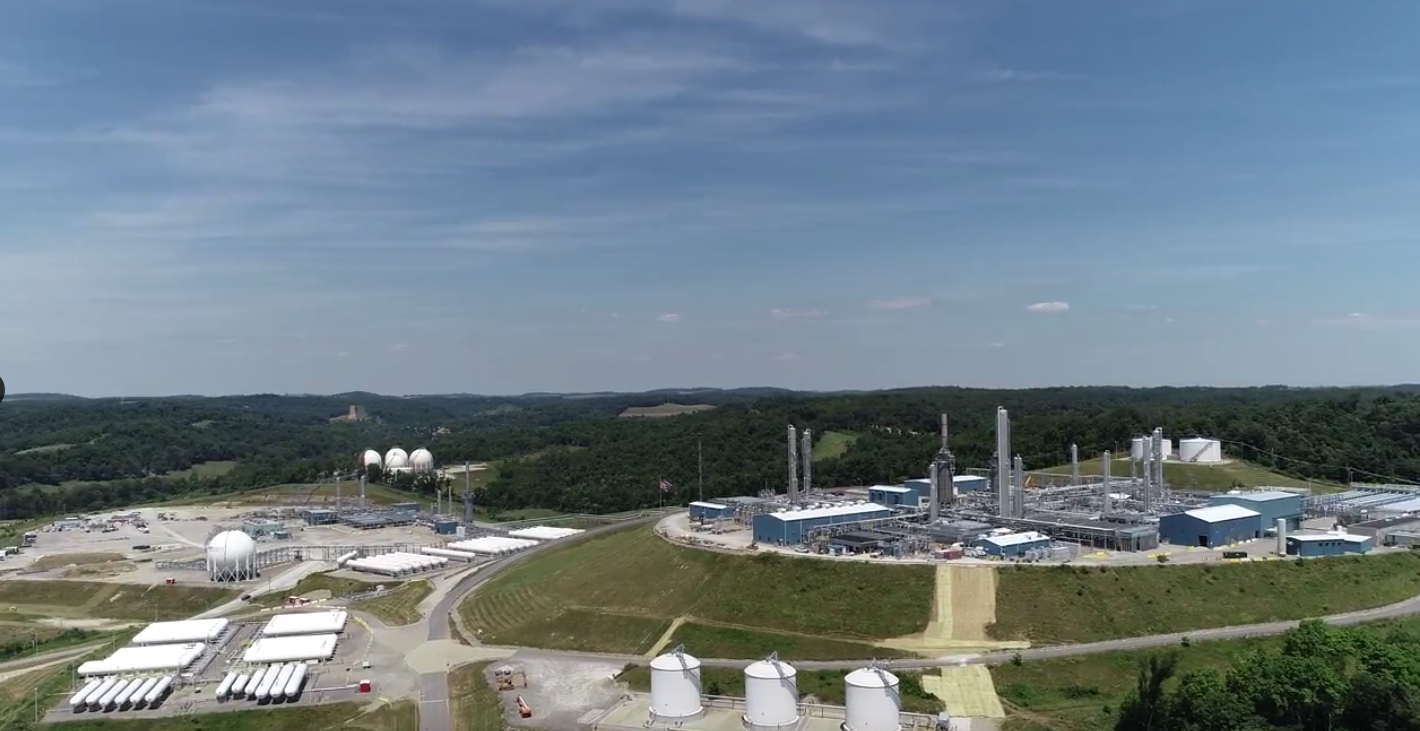 A drone's eye view of the Mark West facility in Houston, PA, where the PA leg of the Falcon pipeline will begin.