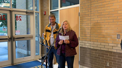 "Kurt and Janice Blanock at Canon McMillan High School 10-7-19; ""It should seem obvious with an ounce of common sense, sincere heartfelt concern, and true courage that we need to be looking at environmental triggers.""- Janice Blanock"