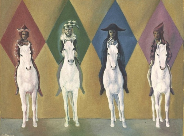 FOUR HORSE WOMEN by artist Suzanne Deveuve