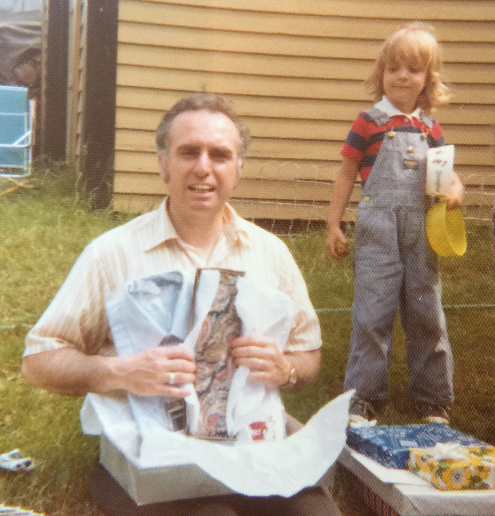 With Grampie, overall dungarees