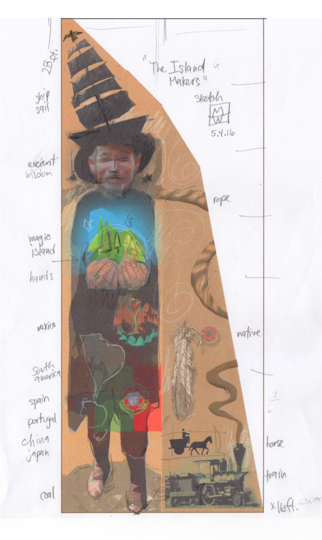 Original sketch for mural on sail cloth by Mark Lewis Wagner, 2016. Courtesy the artist.