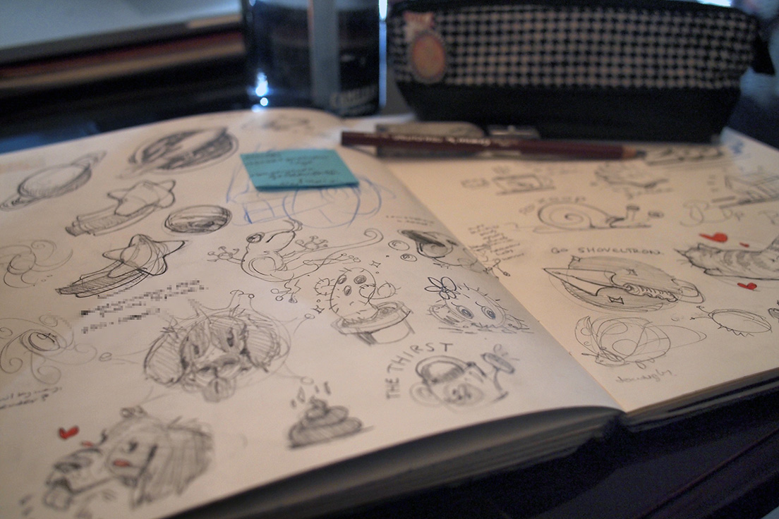 Development sketches for the 2D assets.