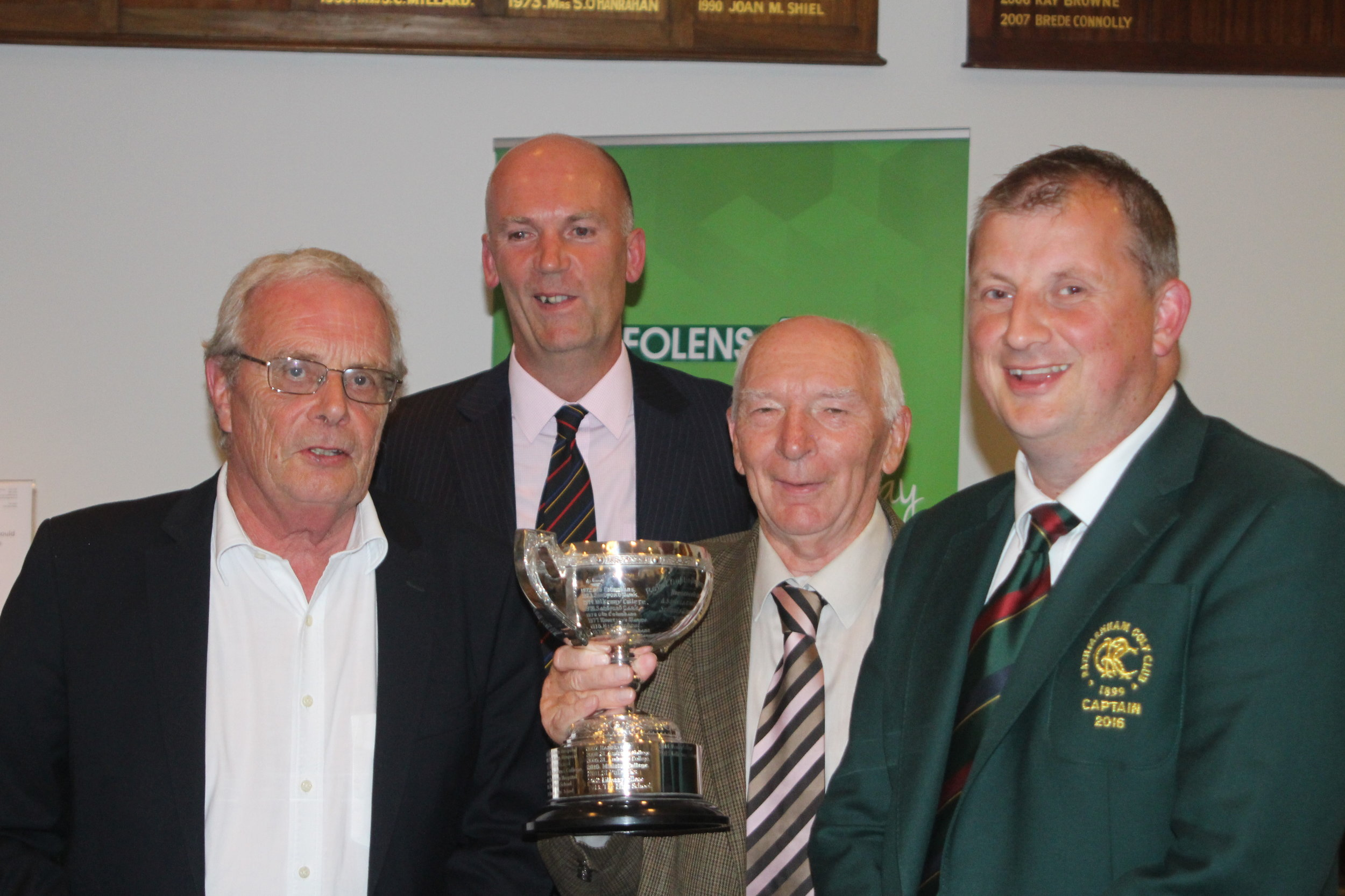 Members of the ASU Golf Winning team with John Gillis President  Malcolm Taylor, Alvin Maidment and Alan Hood Capt of Rathfarnham Golf Club
