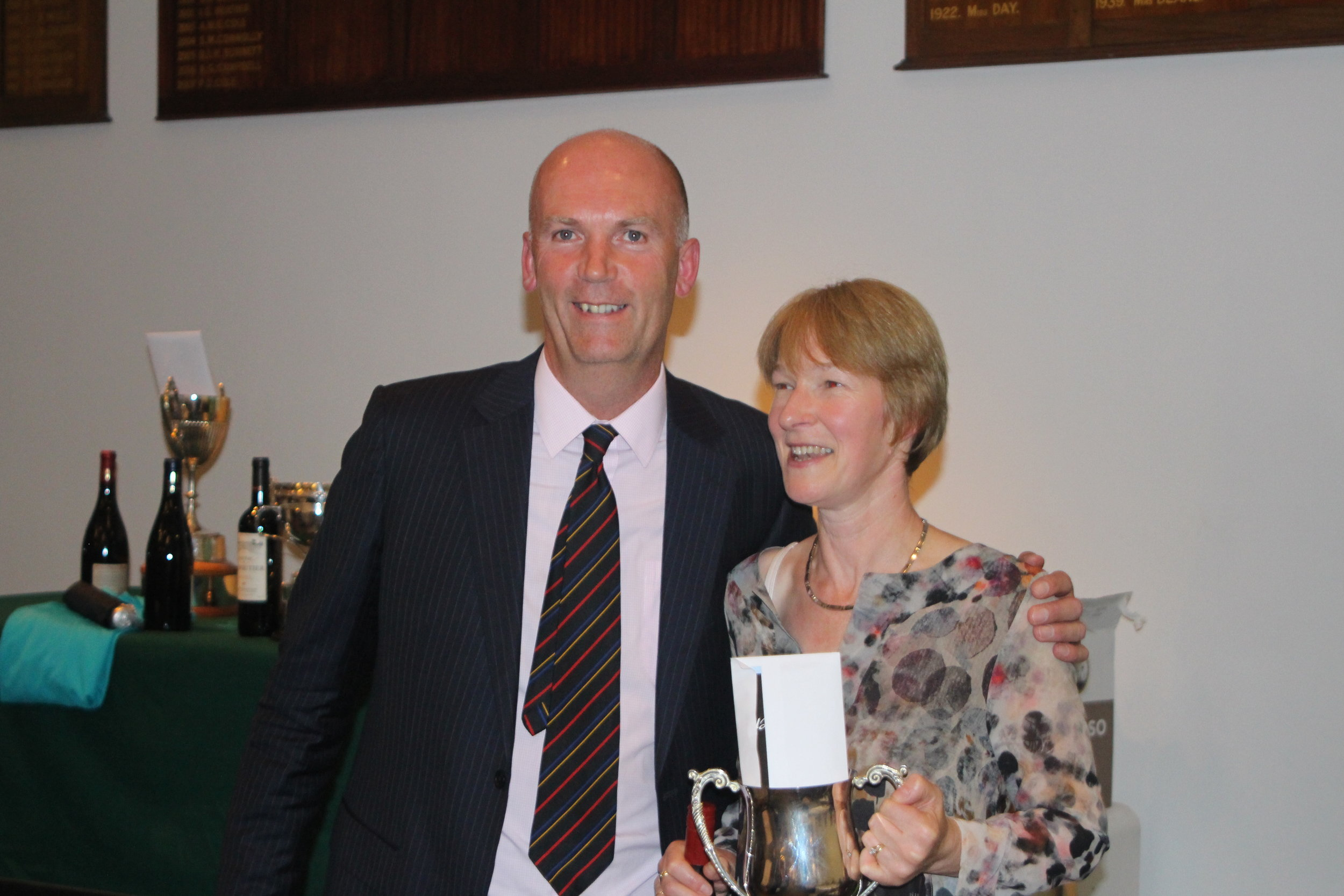 John Gillis with Kara Browning the winner of the Ladies Trophy