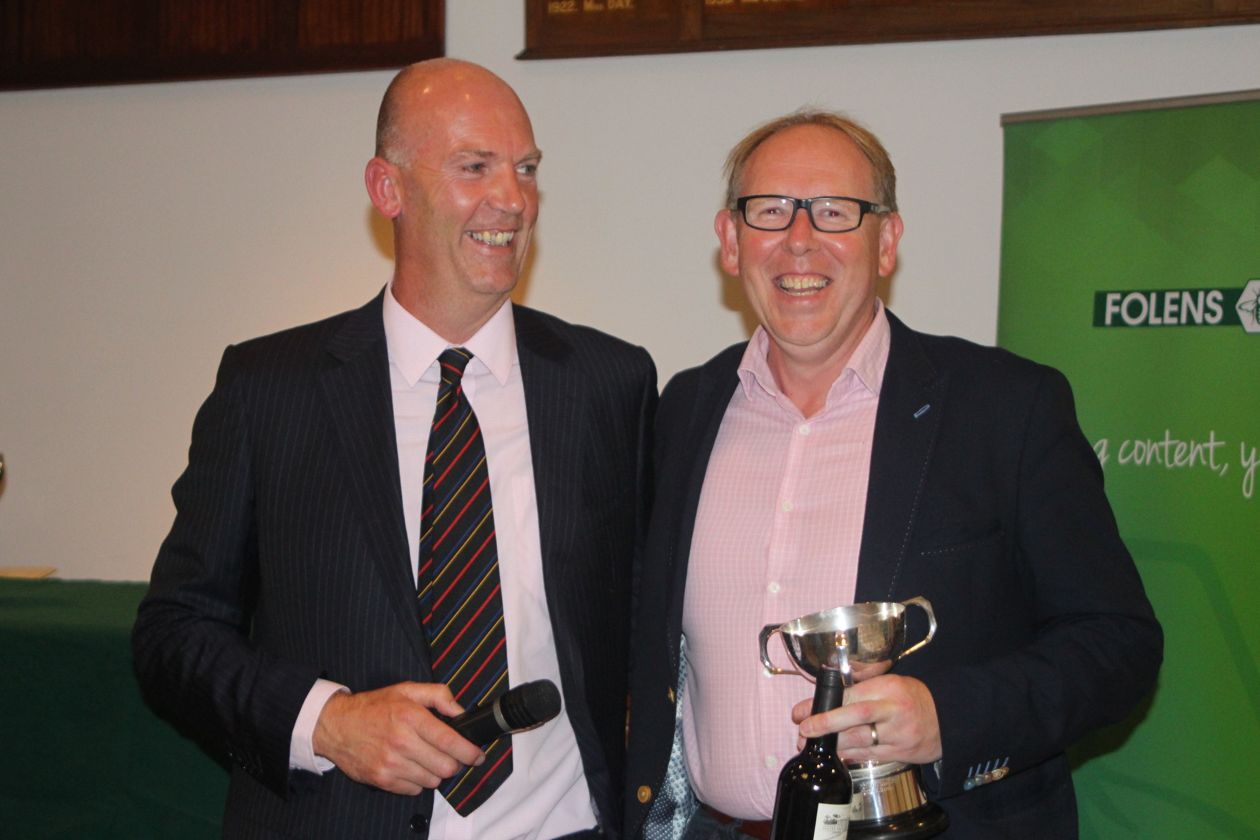 John Gillis with Andrew McCracken winner of the Bunburry trophy