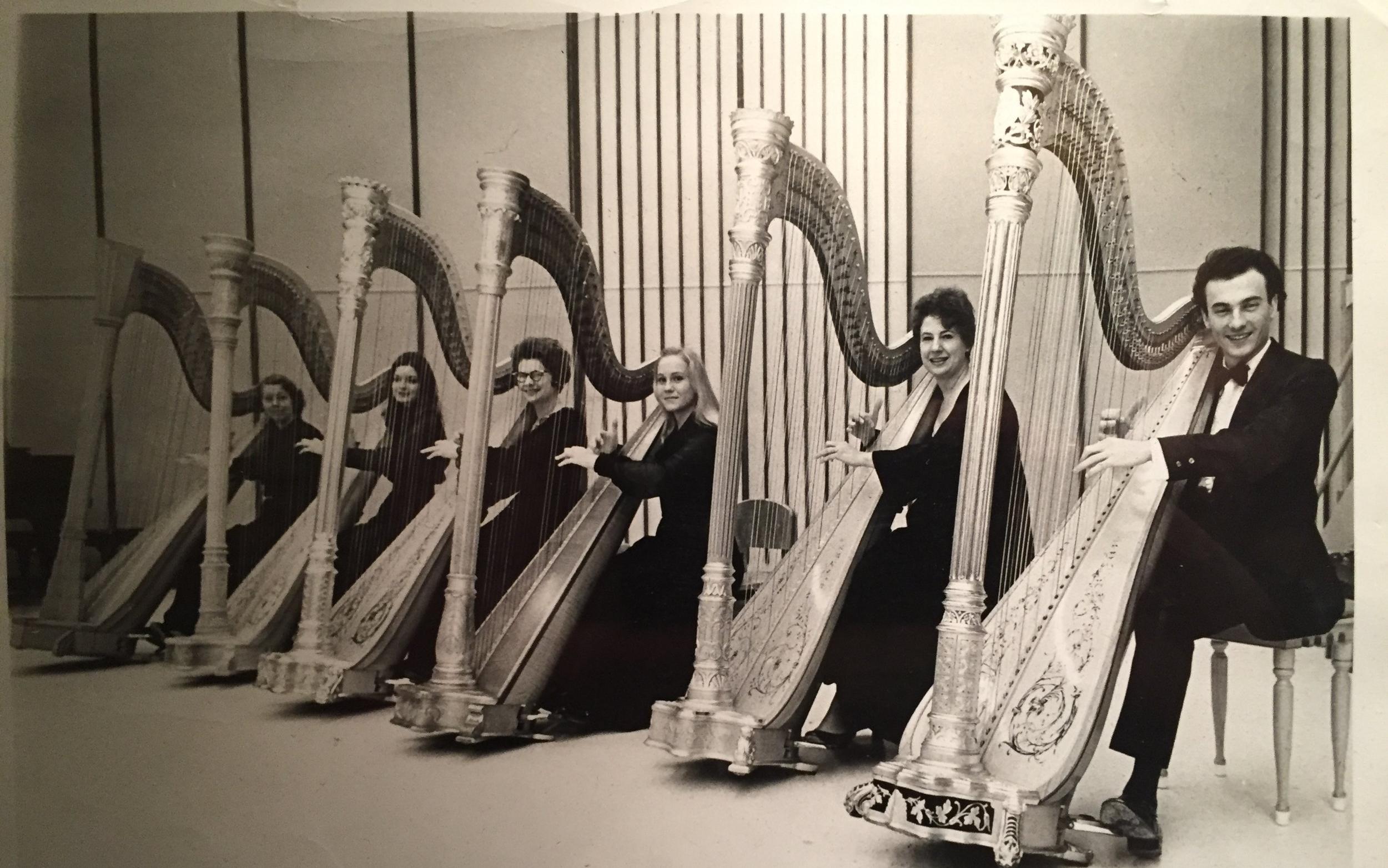 David Williams, far right, with SMU harp ensemble.