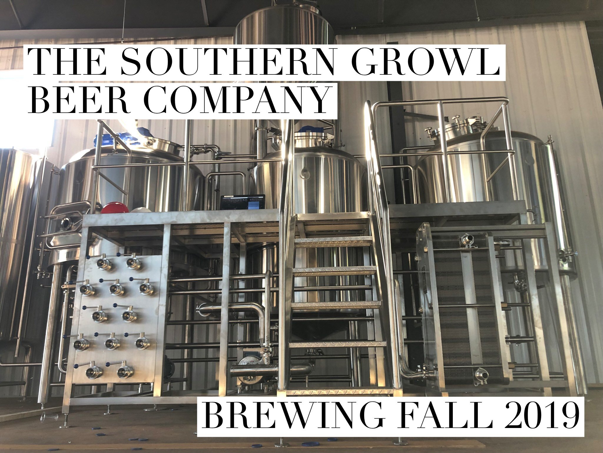 9/25/19  The last few weeks have been very exciting at the brewery construction site. Lots of work is getting done inside and outside.. our vision is starting to come together and we can't wait to share it with all of you! We received a big delivery of brewing equipment and have been spending the time since then getting it in to place and set up. Although we don't yet have the on-site utilities in place to start brewing, we can finally look at this beautiful shiny equipment and dream about the brews we will be brewing in a few short weeks!
