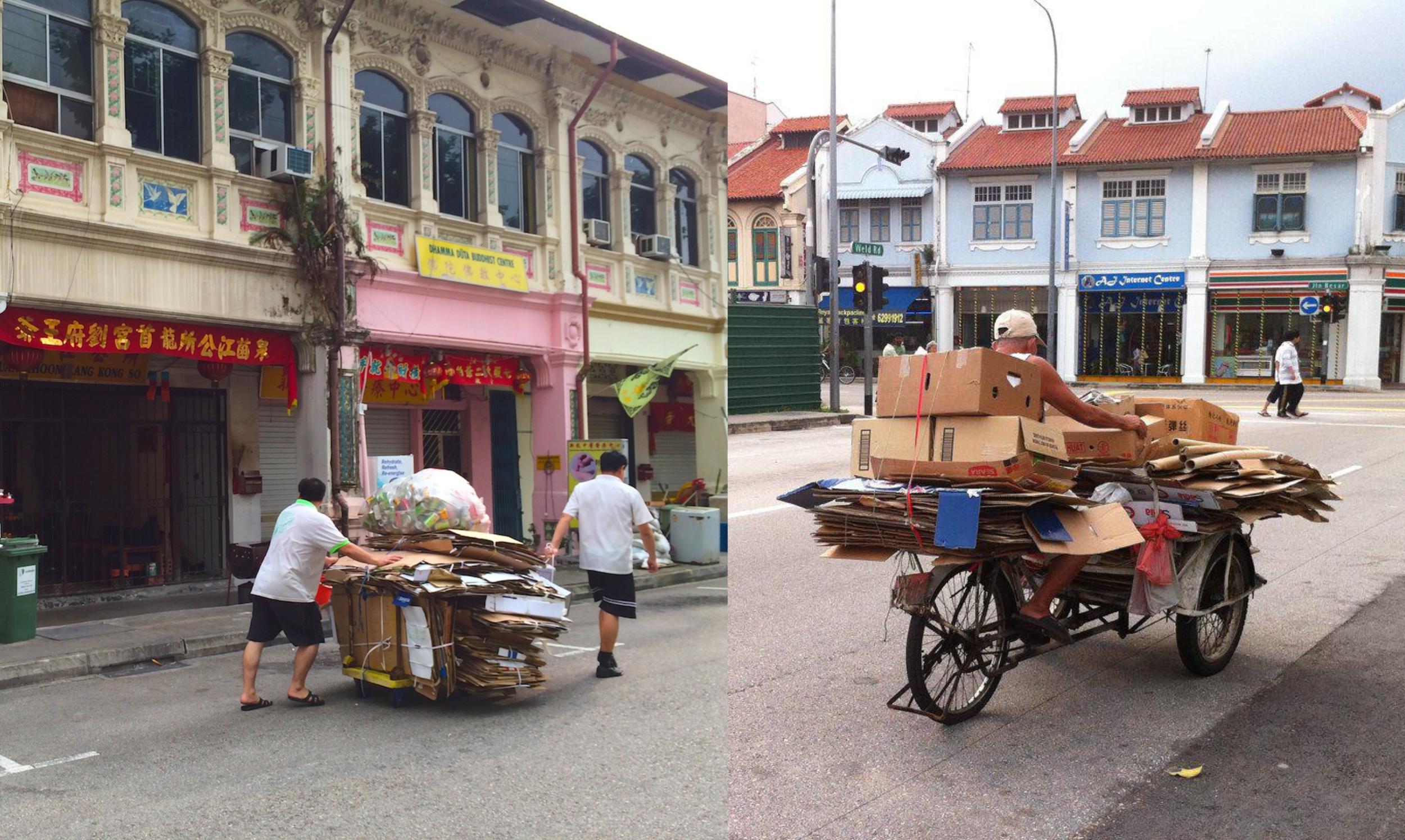 Karung Guni  folks on their rounds in neighborhoods in Singapore