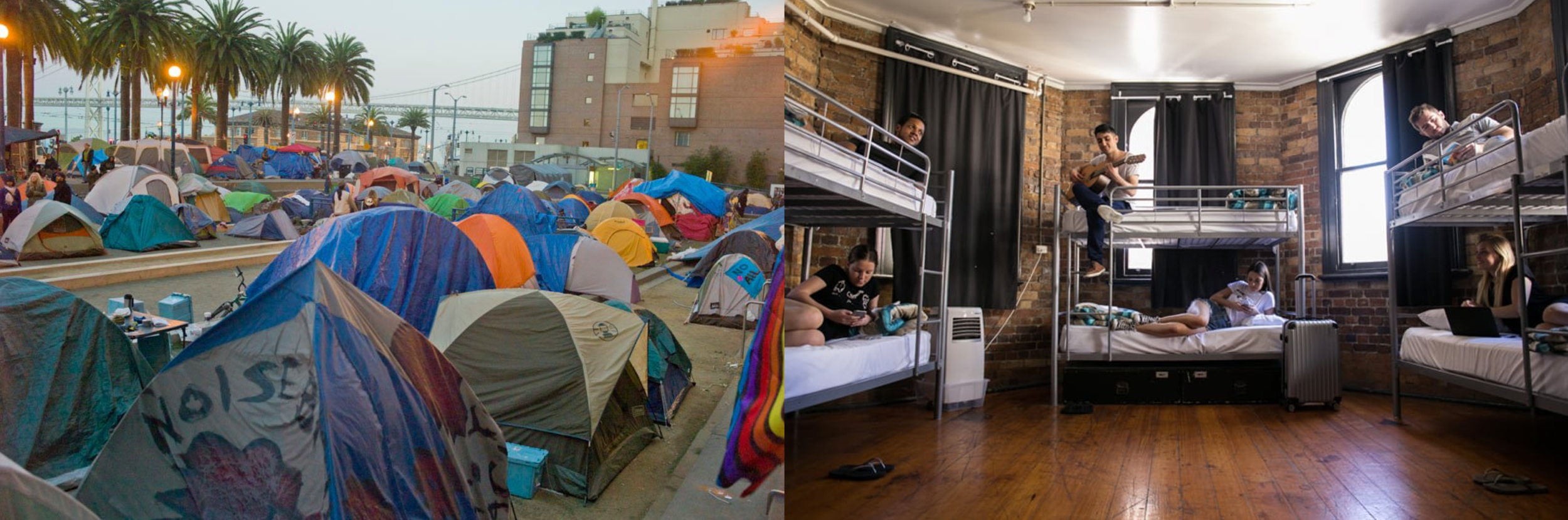 Homeless Encampment in San Francisco, Backpacker Hostel in Brisbane