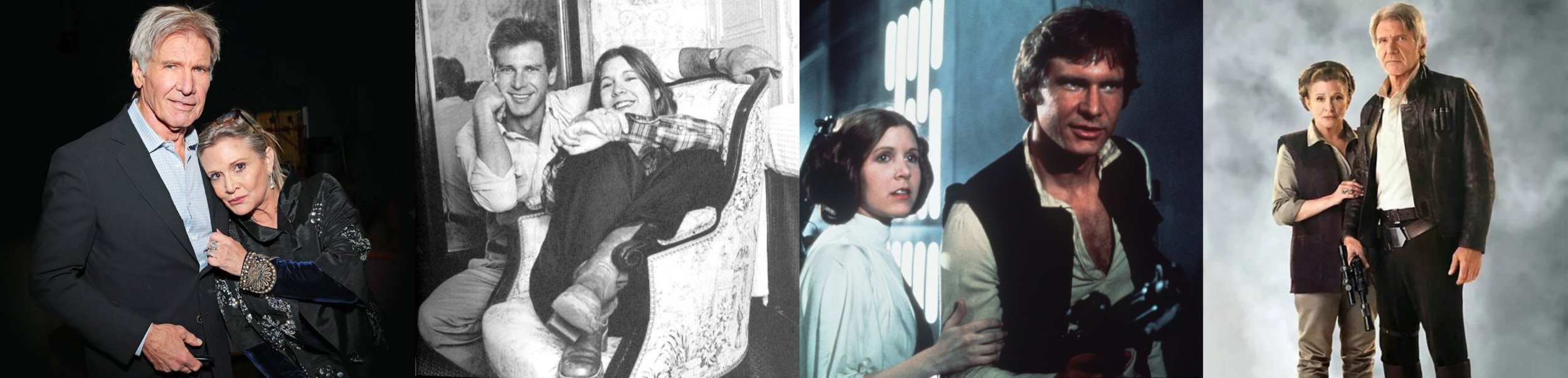 Princess Leia (Carrie Fisher) and Han Solo (Harrison Ford)…Then and Now