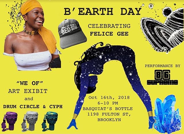 WokeBae in da building! Tomorrow I will be opening this event w a guided meditation. You know givin it yo you sweet, slow, and raw like only I can 💕 Honored to be part of @felicegdotcom Earthstrong celebration 💪🏽💋 - FREE event with the illest vibes. Location: @basquiatsbottle fly spot!and #blackowned PULL UP 6pm-8pm. Be there on time to get a piece of this!