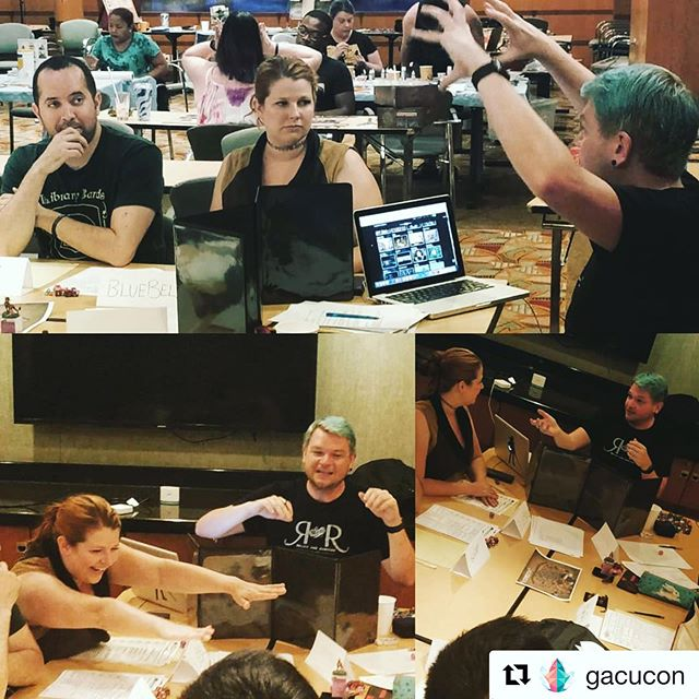 "Had an absolute blast today at @gacucon playing #DnD on the @royalcaribbean  So sad that it's over!  From the #GACUBash in Miami, to the cocktail hour concert Monday night in the Star Lounge, to the fun RPG panel on Tuesday afternoon.... from hearing ""Library Bards"" being yelled randomly on a cruise ship and on Coco Bay, to laughs and drinks and geeking out with #GACUCon patrons in the pool, to escaping the escape room with other GACU nerds in record time, to jazz hands being shared all over the boat.... these are memories we will cherish!  Can't wait for #GACUCon2020 - we will hide in the luggage if we have to!!! Thank you to all the amazing GACUCon staff for showing us an incredible time and having us as your special guests!  #GACUCON2019"