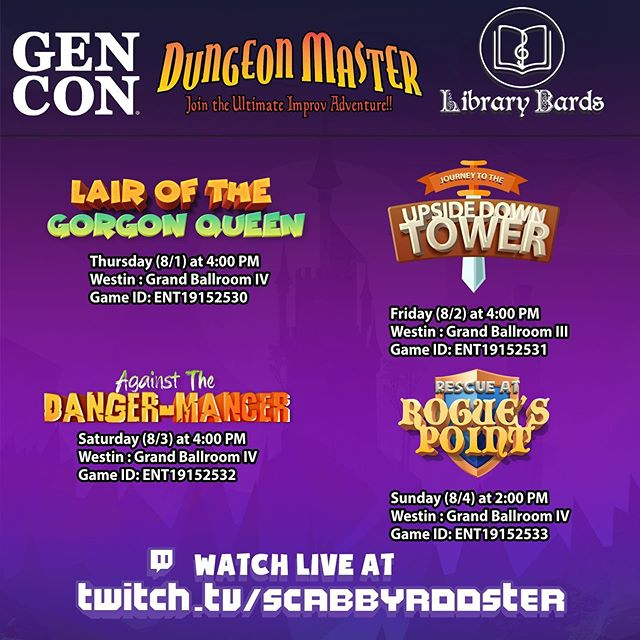 The Library Bards are BEYOND excited to be pairing up with @dungeonmastercast at this year's @Gen_Con! They will be opening each show, and participating as cast members. Grab tickets soon, these tend to sell out!  bit.ly/dungeonmastergencon
