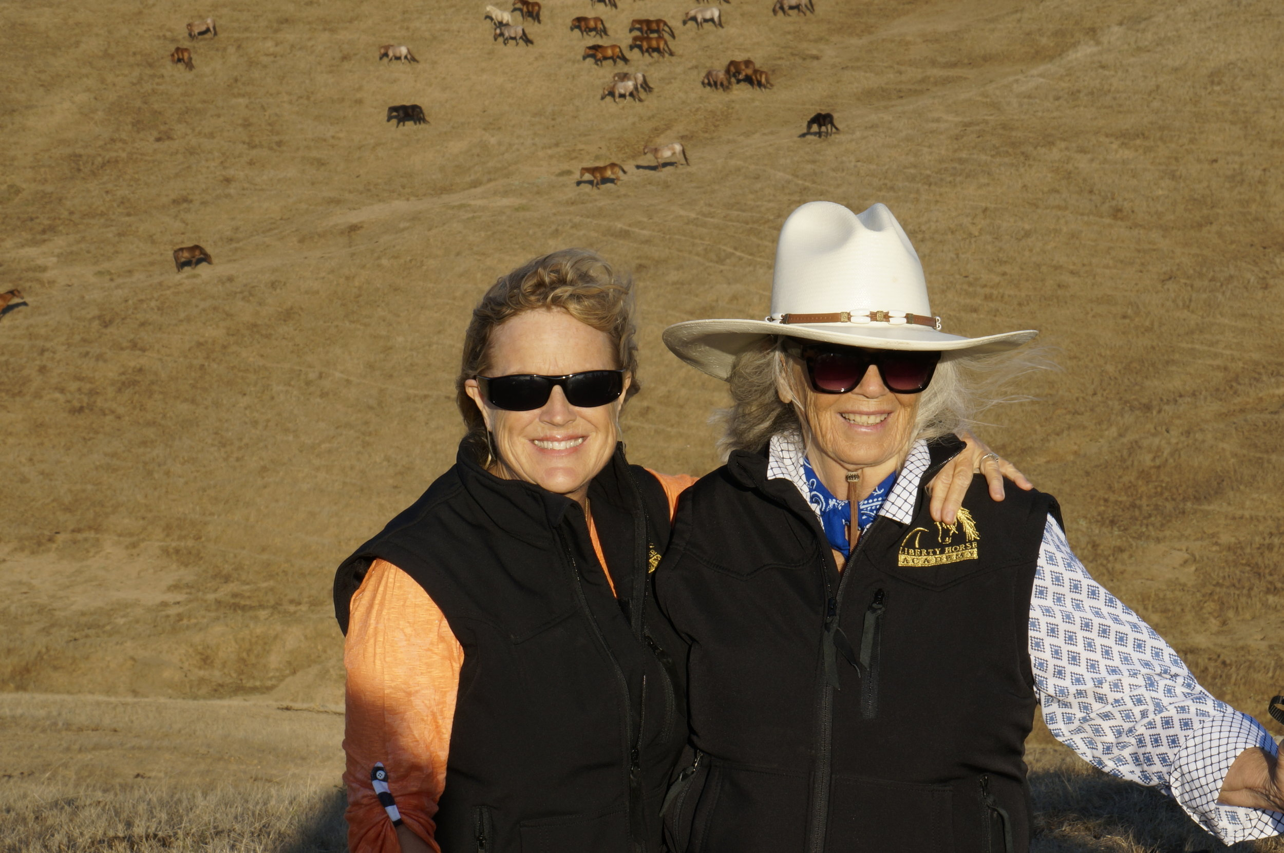 Carolyn Resnick and Nancy Zintsmaster at Return to Freedom Wild Horse Sanctuary