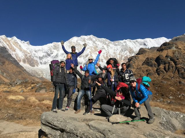 Our 2017 Team arriving at Annapurna Base Camp! Victory!
