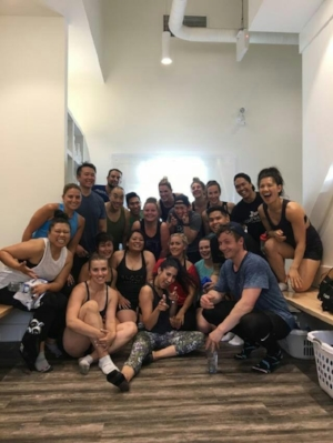 Community get together at a local spin studio