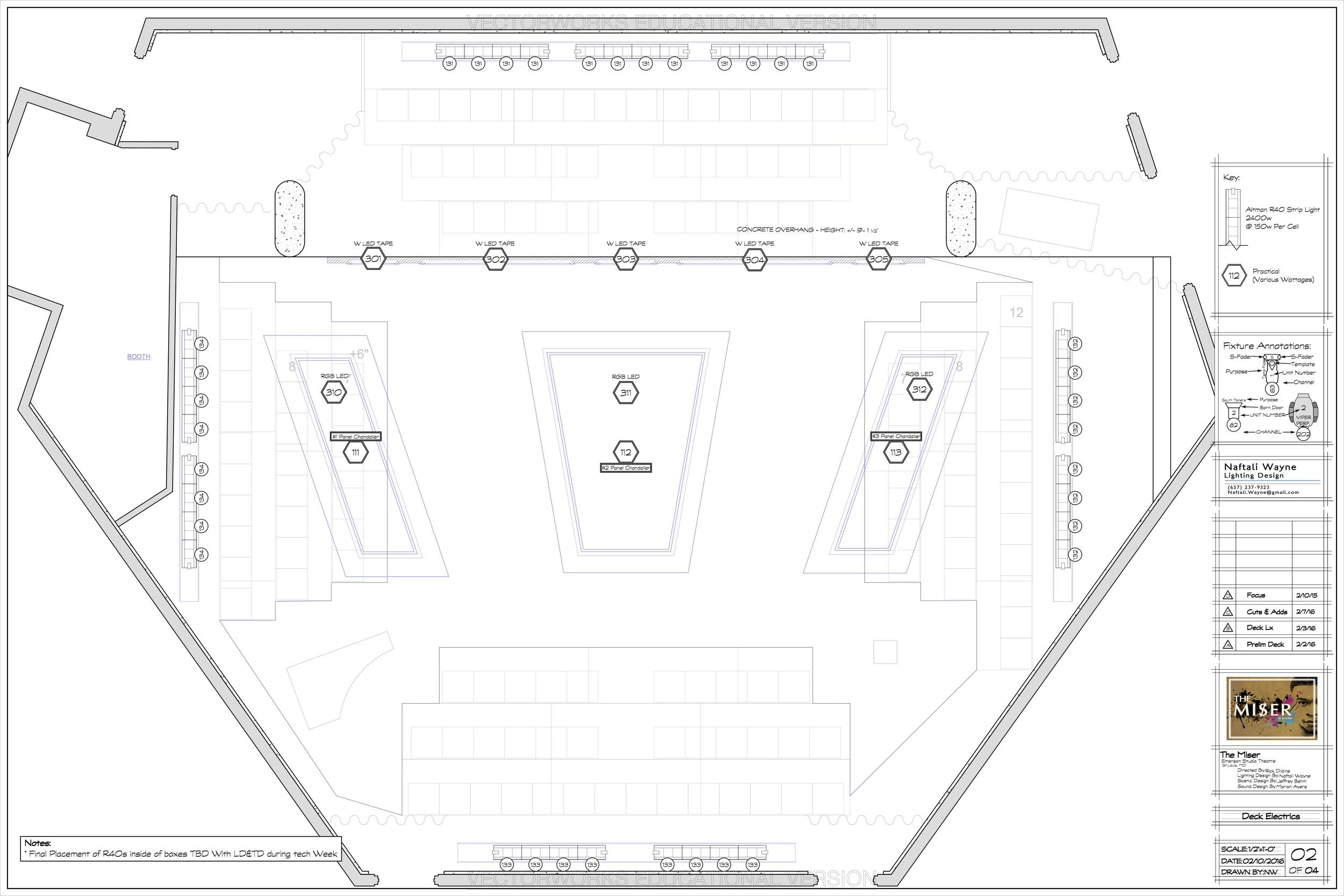Deck Electrics - The Miser - Emerson Studio Theatre - St. Louis MO