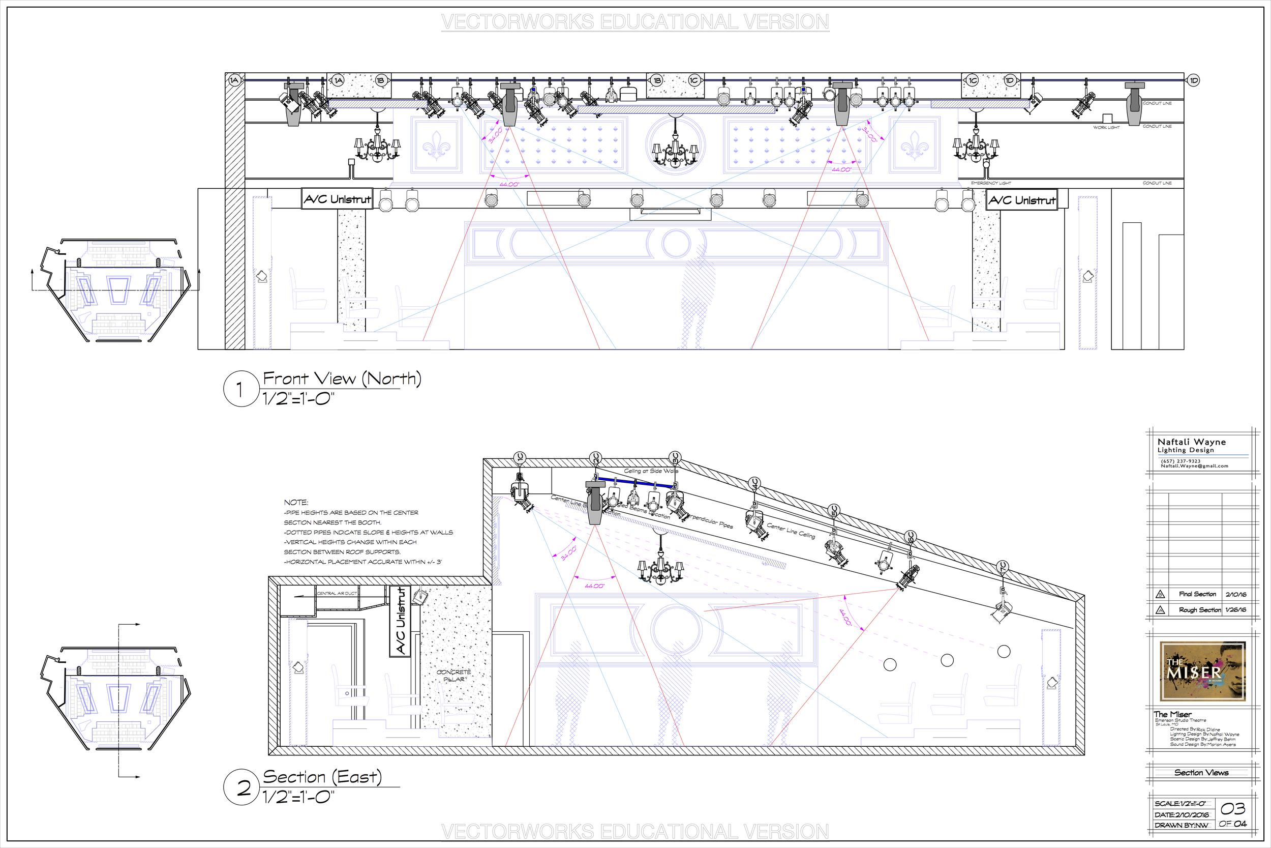 Section Views - The Miser - Emerson Studio Theatre - St. Louis MO