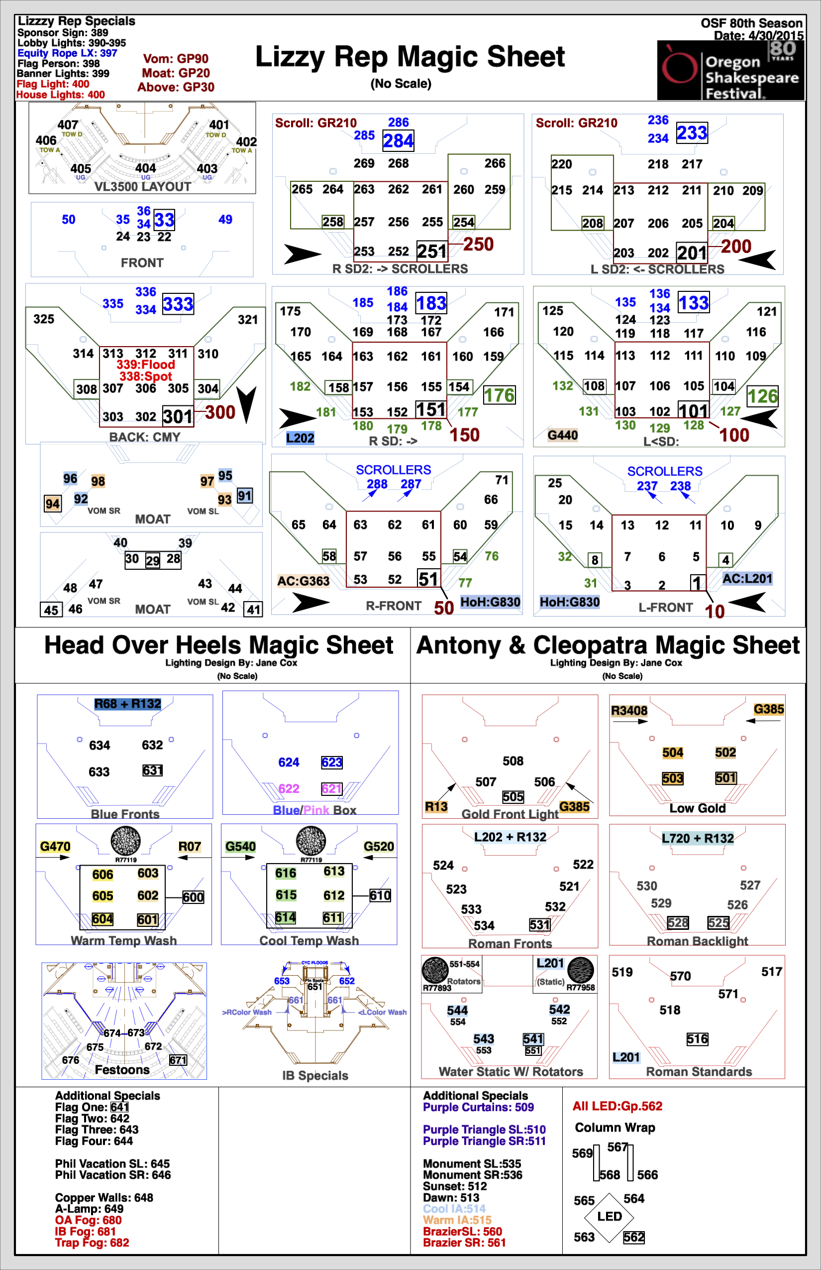 Magic Sheet - Head Over Heels + Antony & Cleopatra - OSF 2015 - LD: Jane Cox