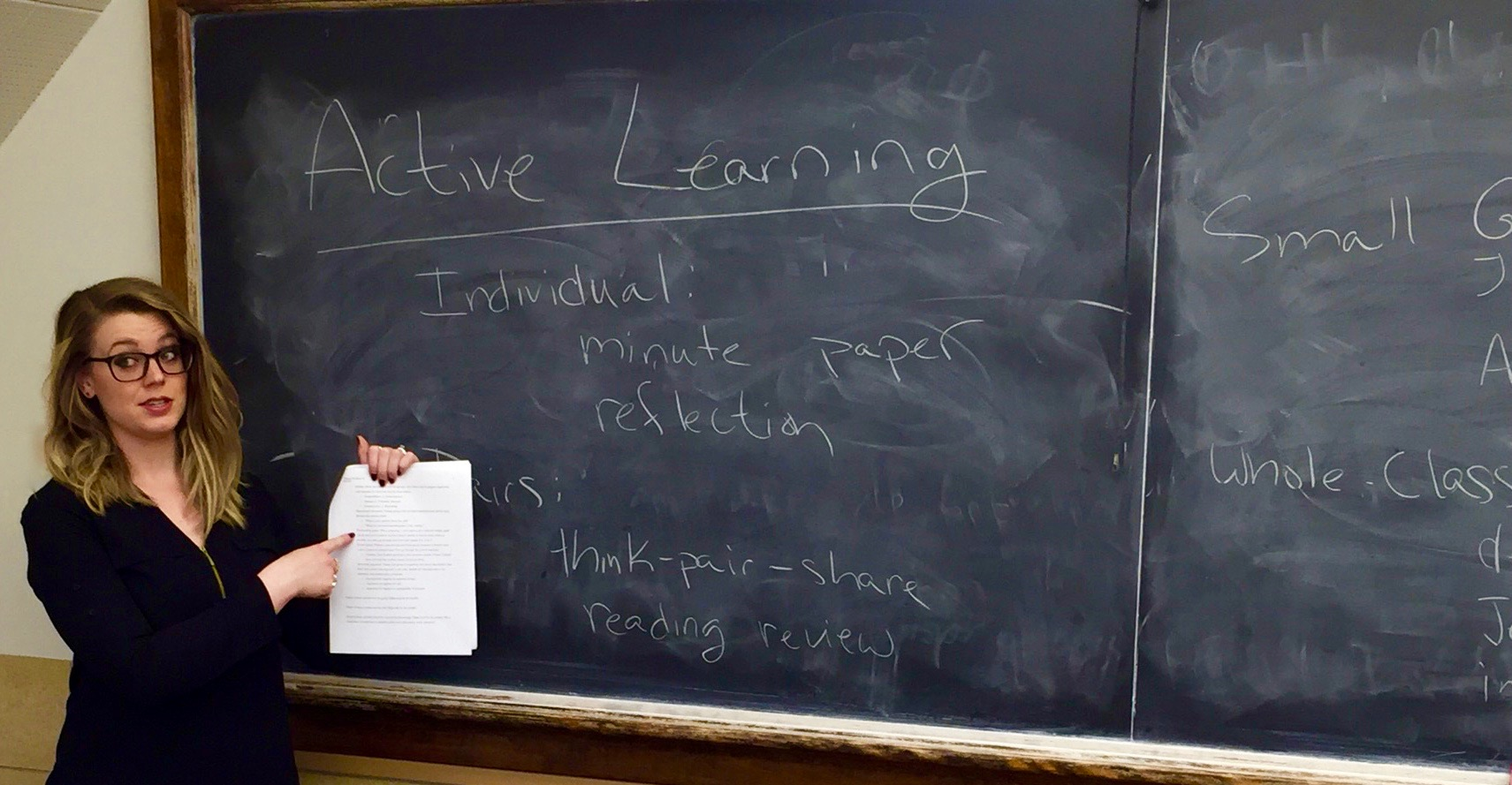In a pedagogy workshop, we discuss some active learning strategies that are designed to help students engage with and manipulate the material on their own to enhance their understanding.