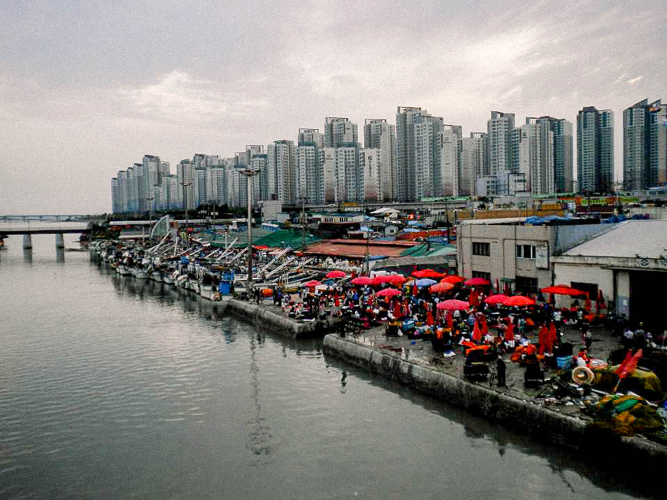 My neighborhood was a fishing village. This is a photo of the fish market with apartments behind it.
