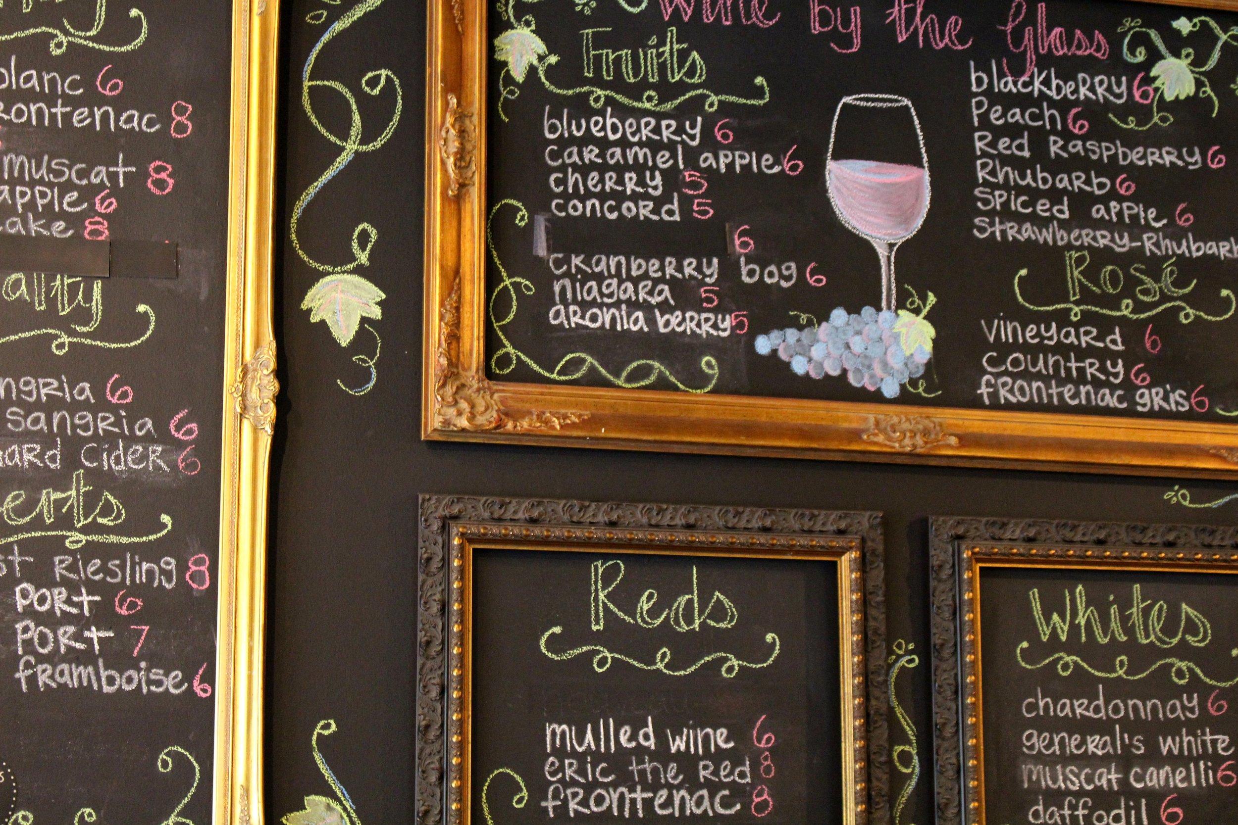 Galena Cellars Chalkboard