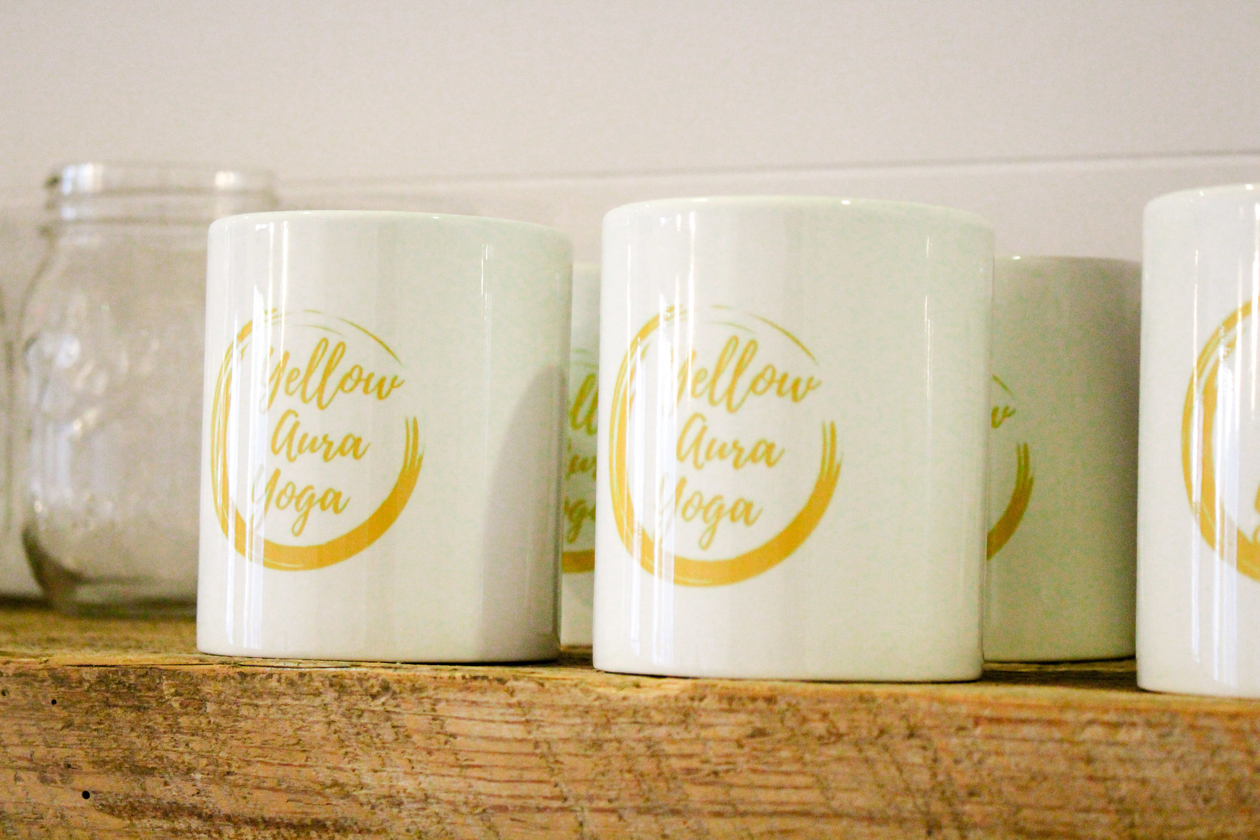 Yellow Aura Yoga Coffee Mugs
