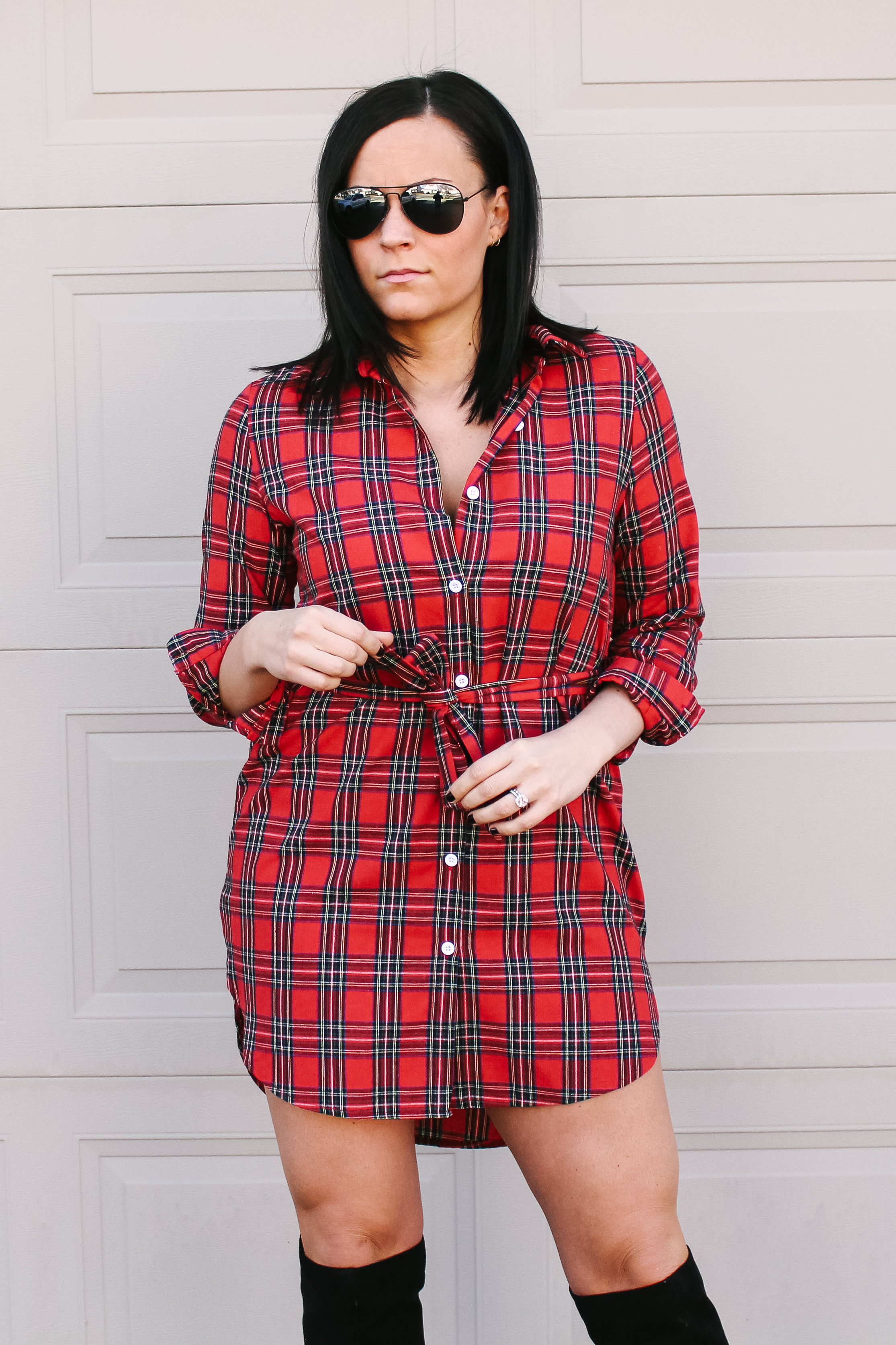 Laura Swan Sieckman Red Plaid Dress