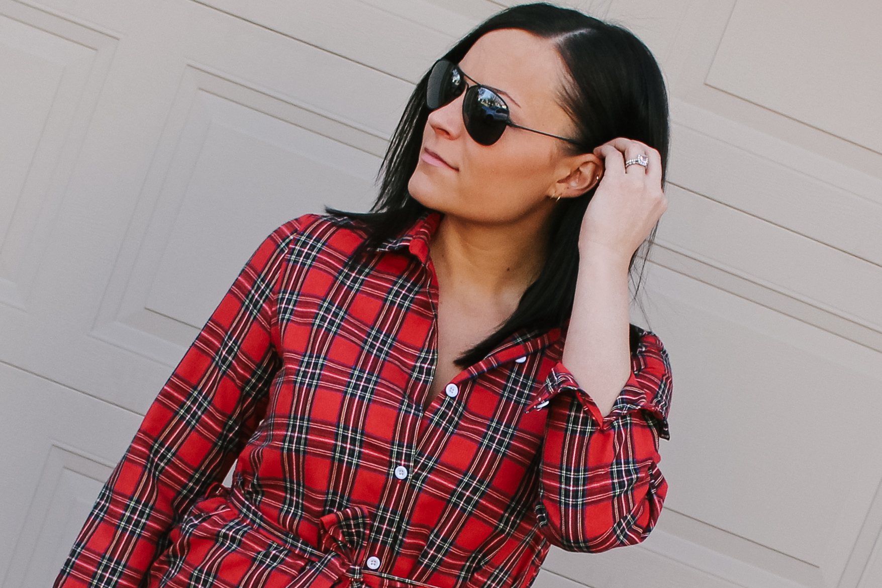 LSS Red Plaid Dress