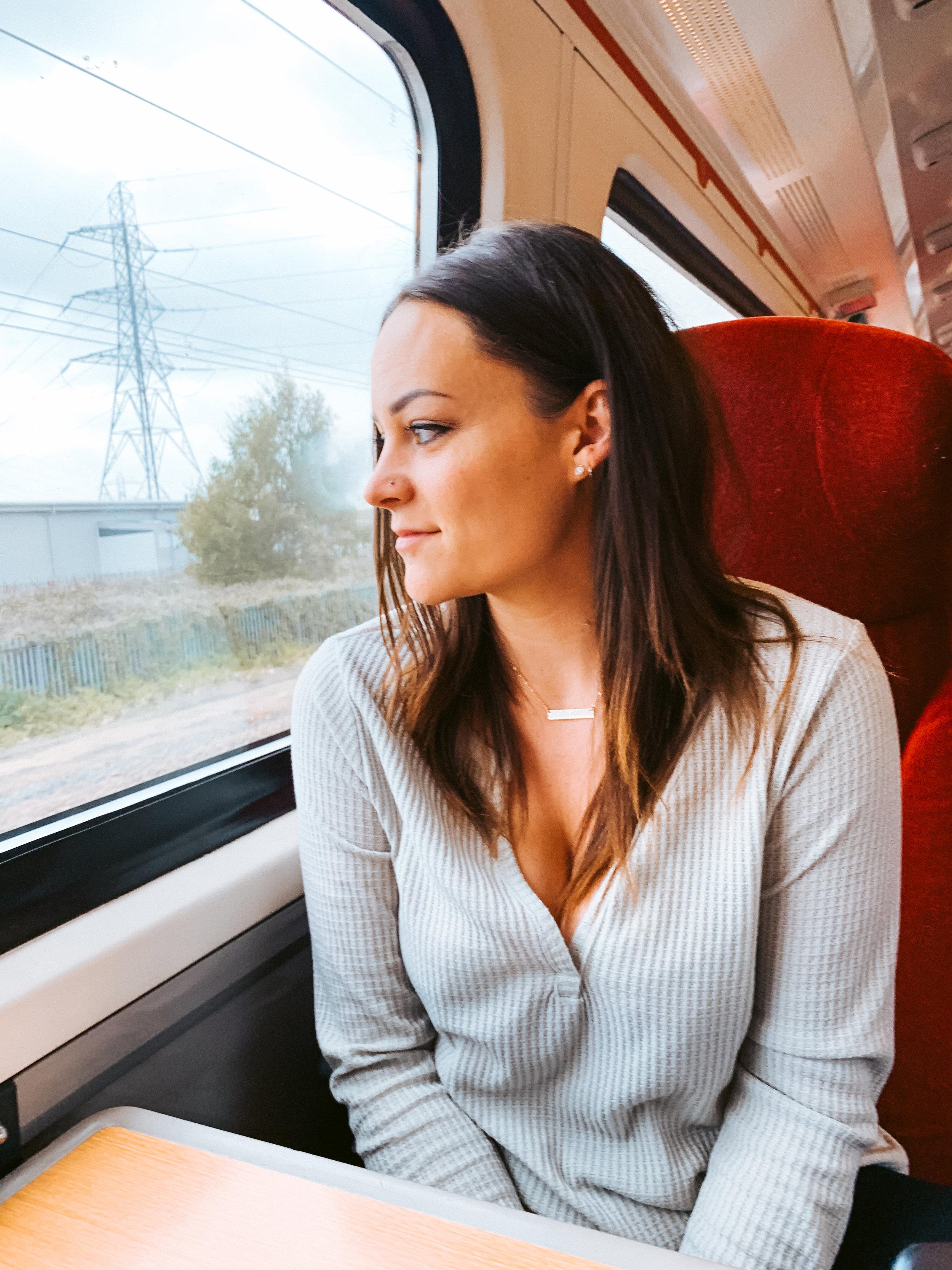 Laura on LNER Train Leaving Scotland