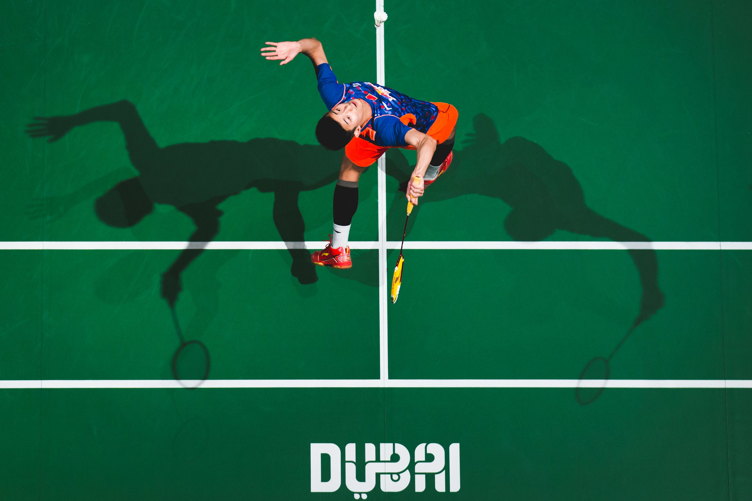 Chen Long  of  China  in action in the the Semifinals Men,s Single match against of Viktor Axelsen of Denmark during day four of the  BWF Dubai World Superseries  2015 Finals at the Hamdan Sports Complex on on December 12, 2015 in Dubai, United Arab Emirates.