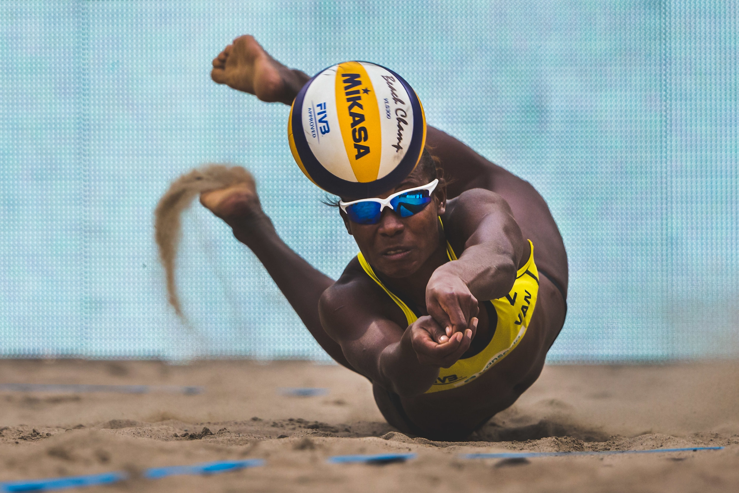 Linline Matauatu  of  Vanuato   dive s during the  FIVB Beach Volleyball World Championships  female match between Brazil and Vanuato on June 28, 2015 in Amsterdam, Netherlands.
